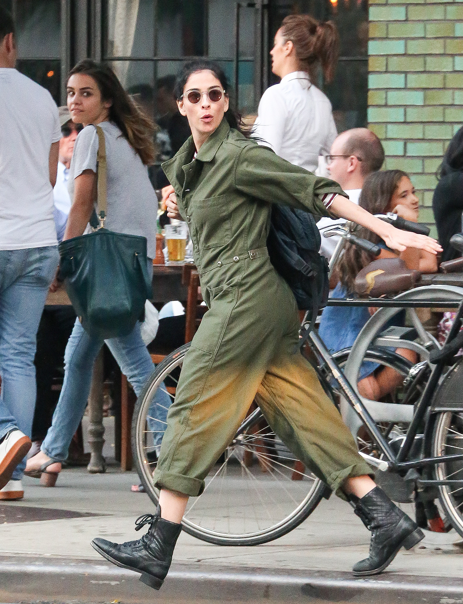 EXCLUSIVE: Sarah Silverman Leaves Her Boyfriend Michael Sheen in the Dust as She Chases Down a Taxi in NYC