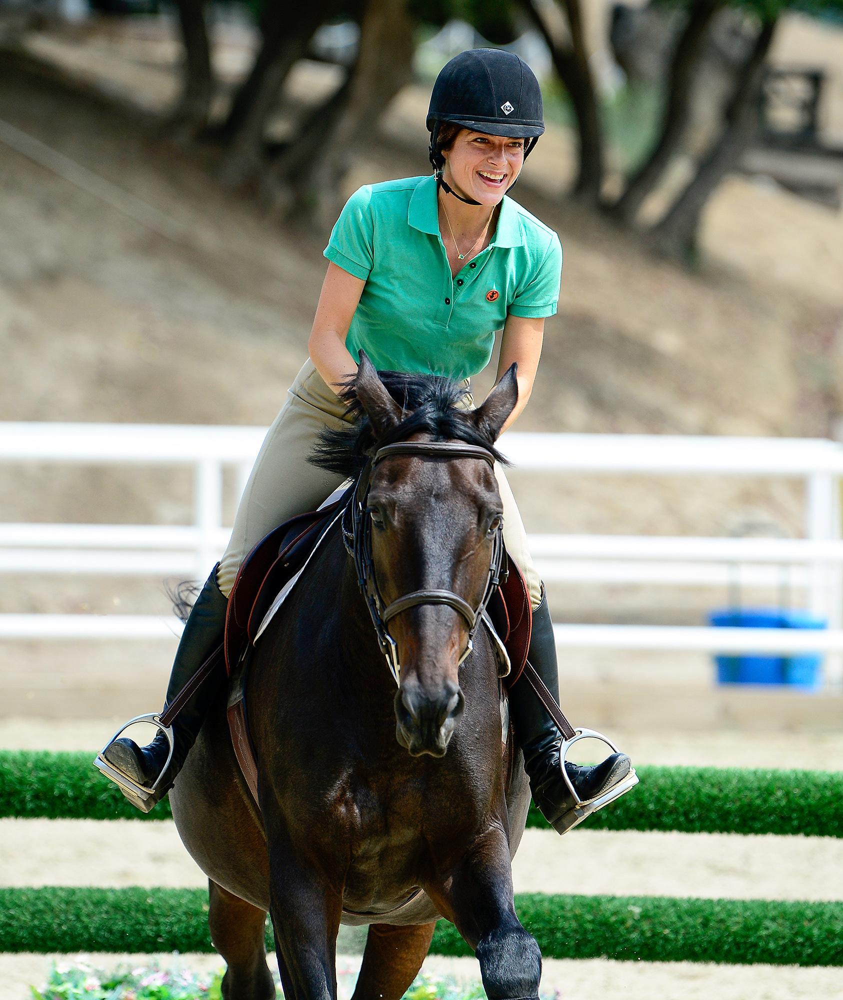 EXCLUSIVE: Selma Blair shows off her advanced equestrian skills on her horse Ivy!