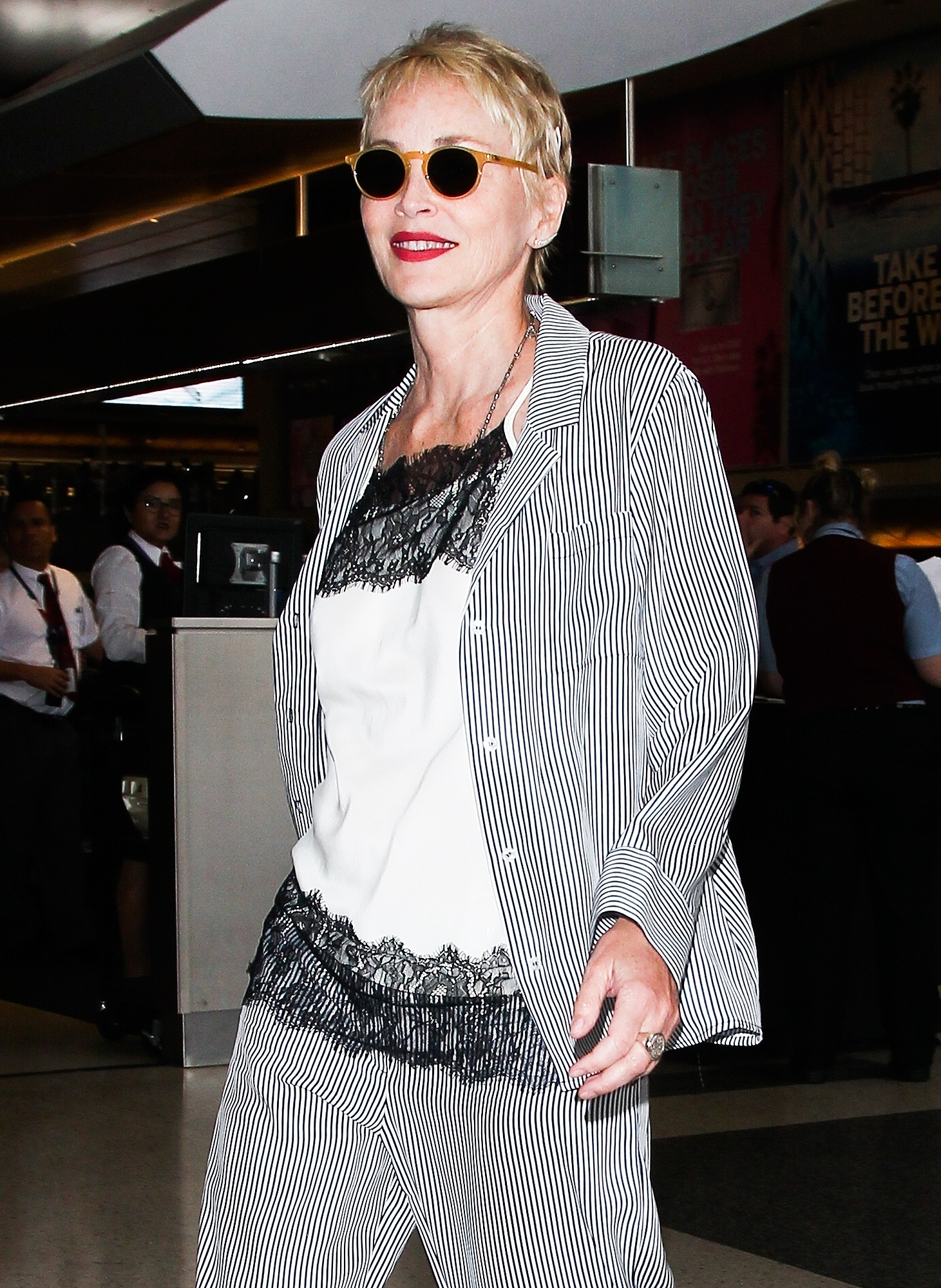*EXCLUSIVE* Sharon Stone departs LAX in peace!
