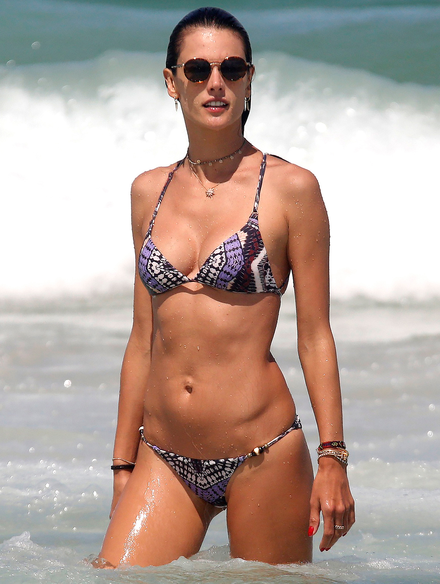 *EXCLUSIVE* Alessandra Ambrosio shows off her incredibly fit beach bod