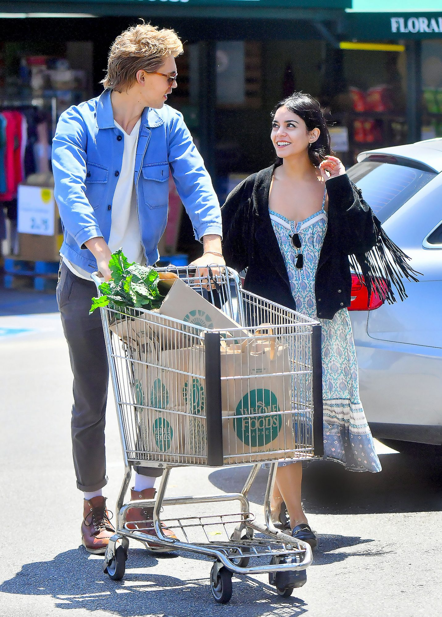 Vanessa Hudgens and boyfriend Austin Butler are all smiles during a grocery store run at Whole Foods in Los Angeles, CA
