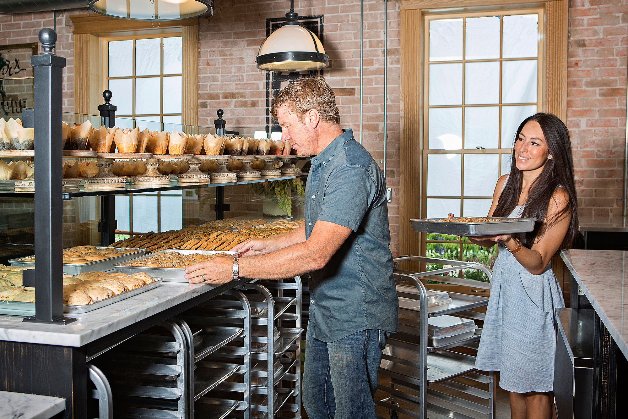 As seen on FIxer Upper, Chip and Joanna Gaines set-up product to be sold in the newly renovated Bakery. (After)