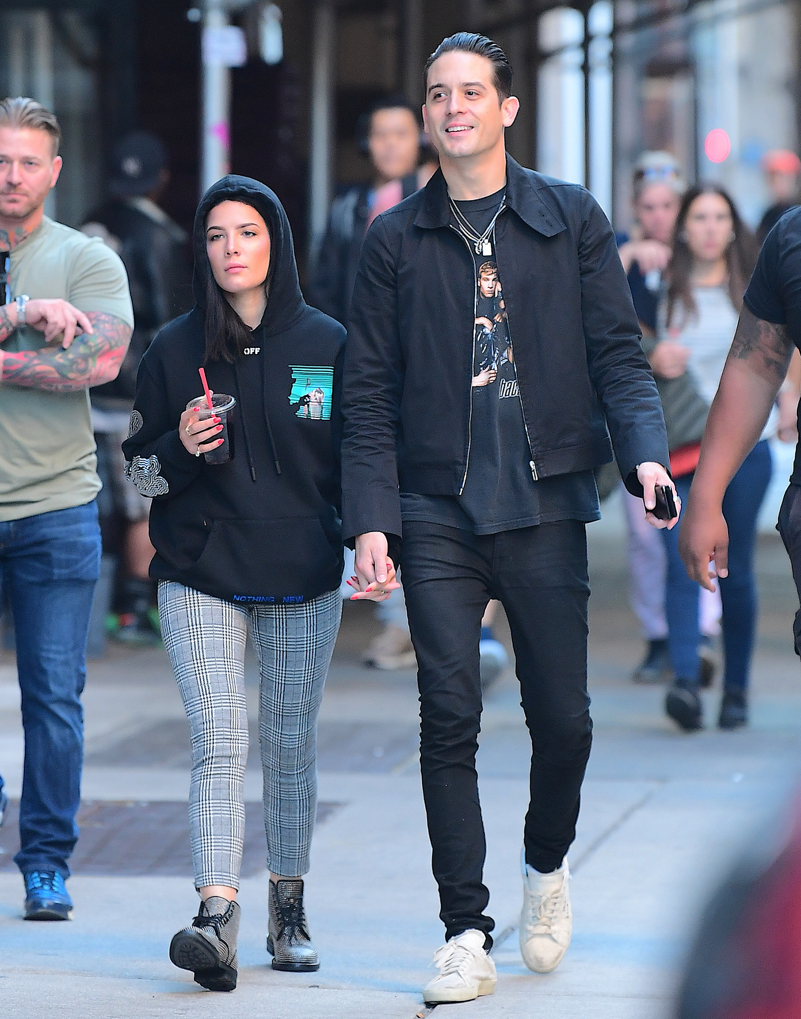 EXCLUSIVE: New Couple G Eazy and Halsey Enjoy a Romantic Stroll around NYC with a Third AND Fourth Wheel