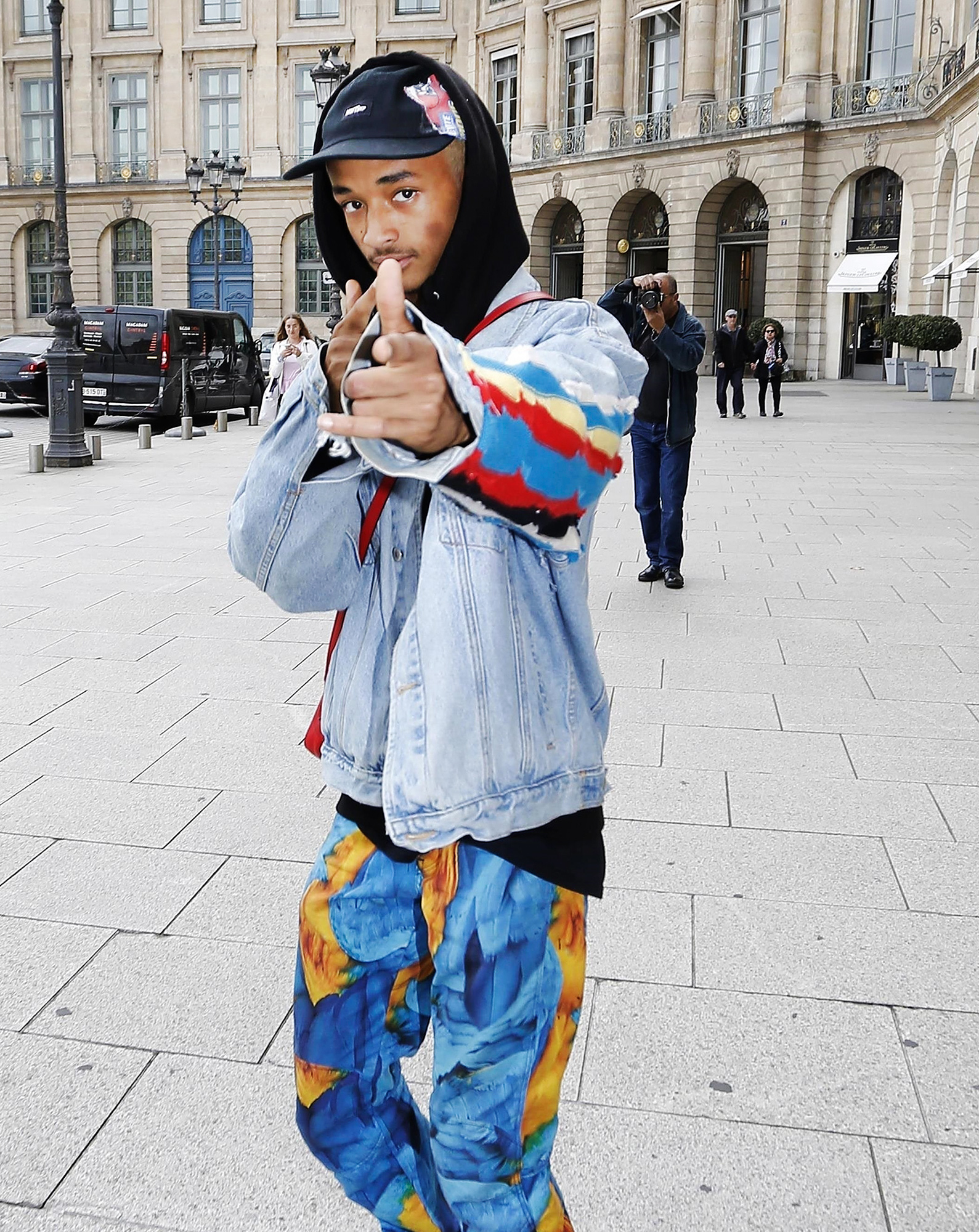 Jaden Smith makes time for the fans leaving his hotel during Paris Fashion Week