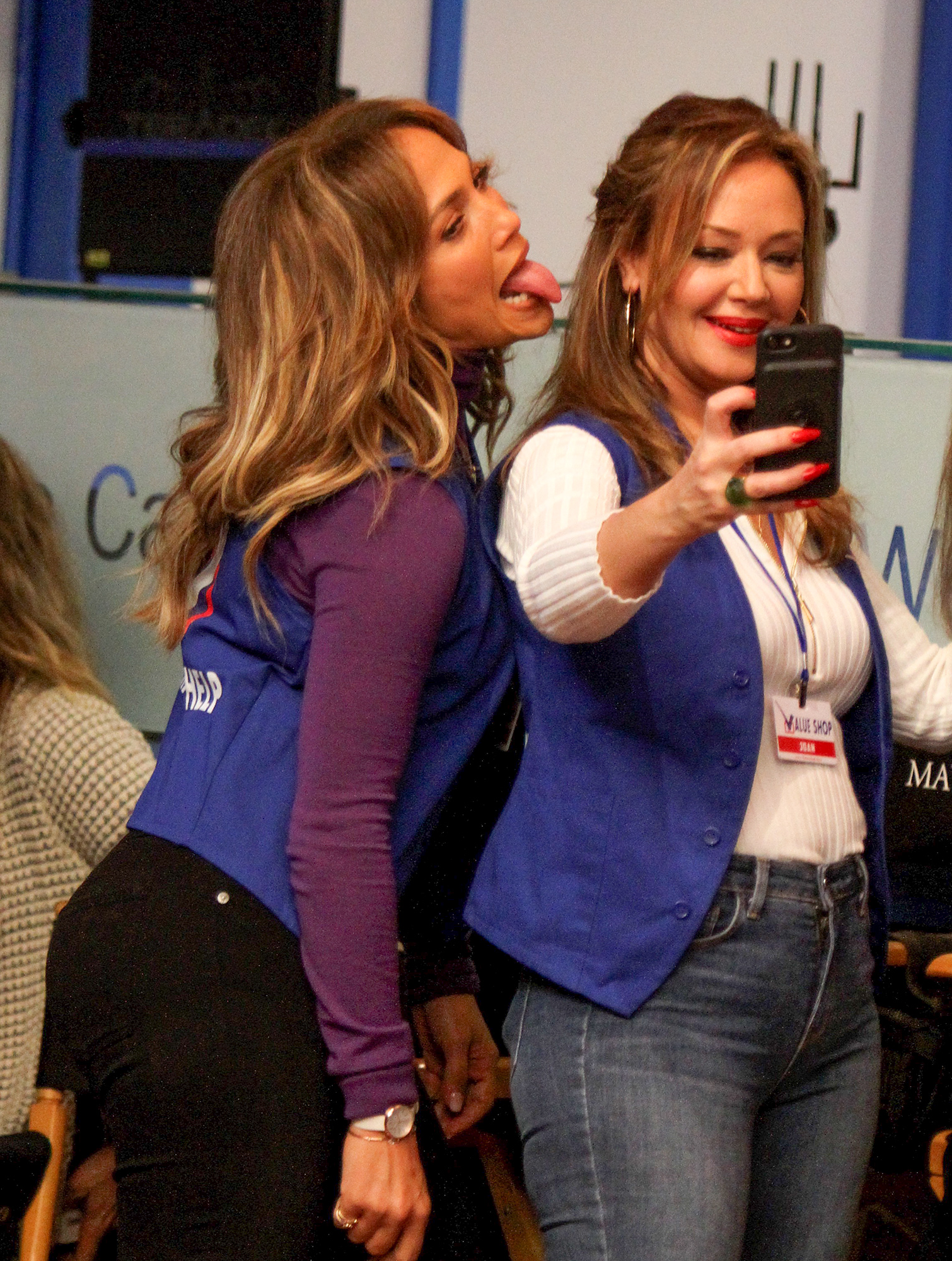 """Jennifer Lopez and Leah Remini taking selfies at the """"Second Act"""" movie set in Queens"""