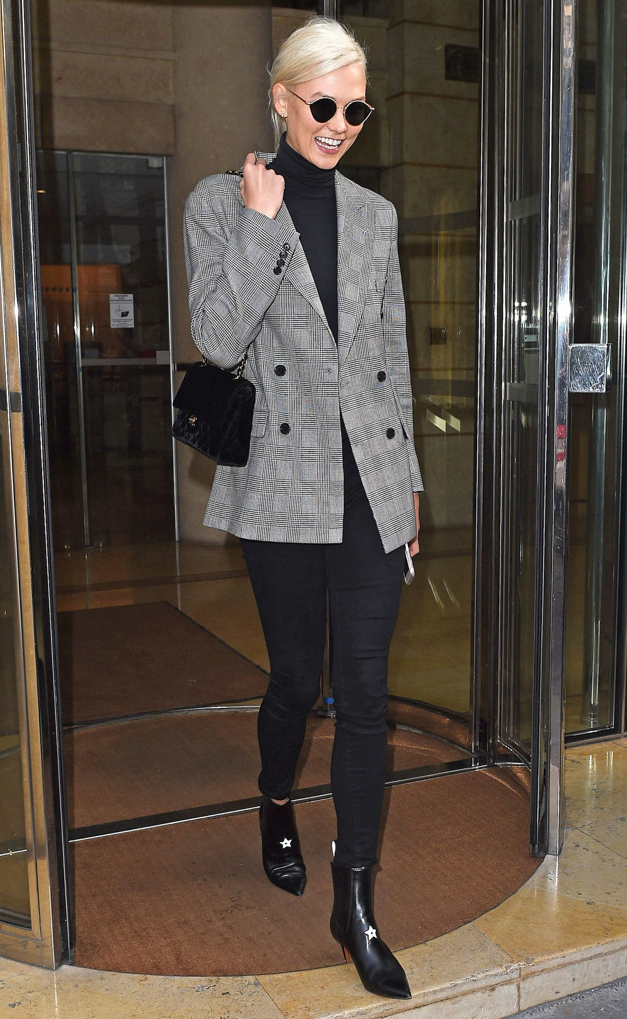 Karlie Kloss is seen at the Royal Monceau hotel in Paris