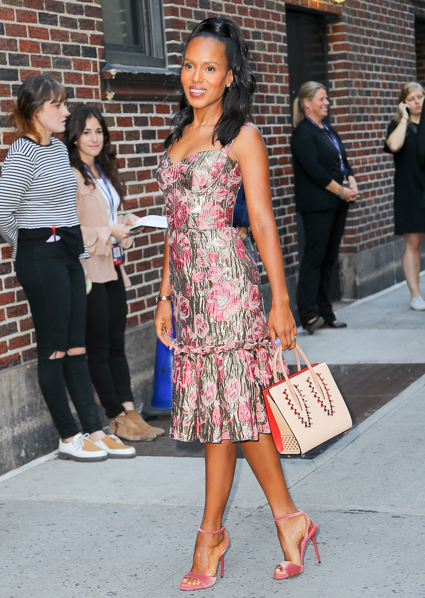 Kerry Washington wore a floral dress while arrives at The Late Show with Stephen Colbert in New York City