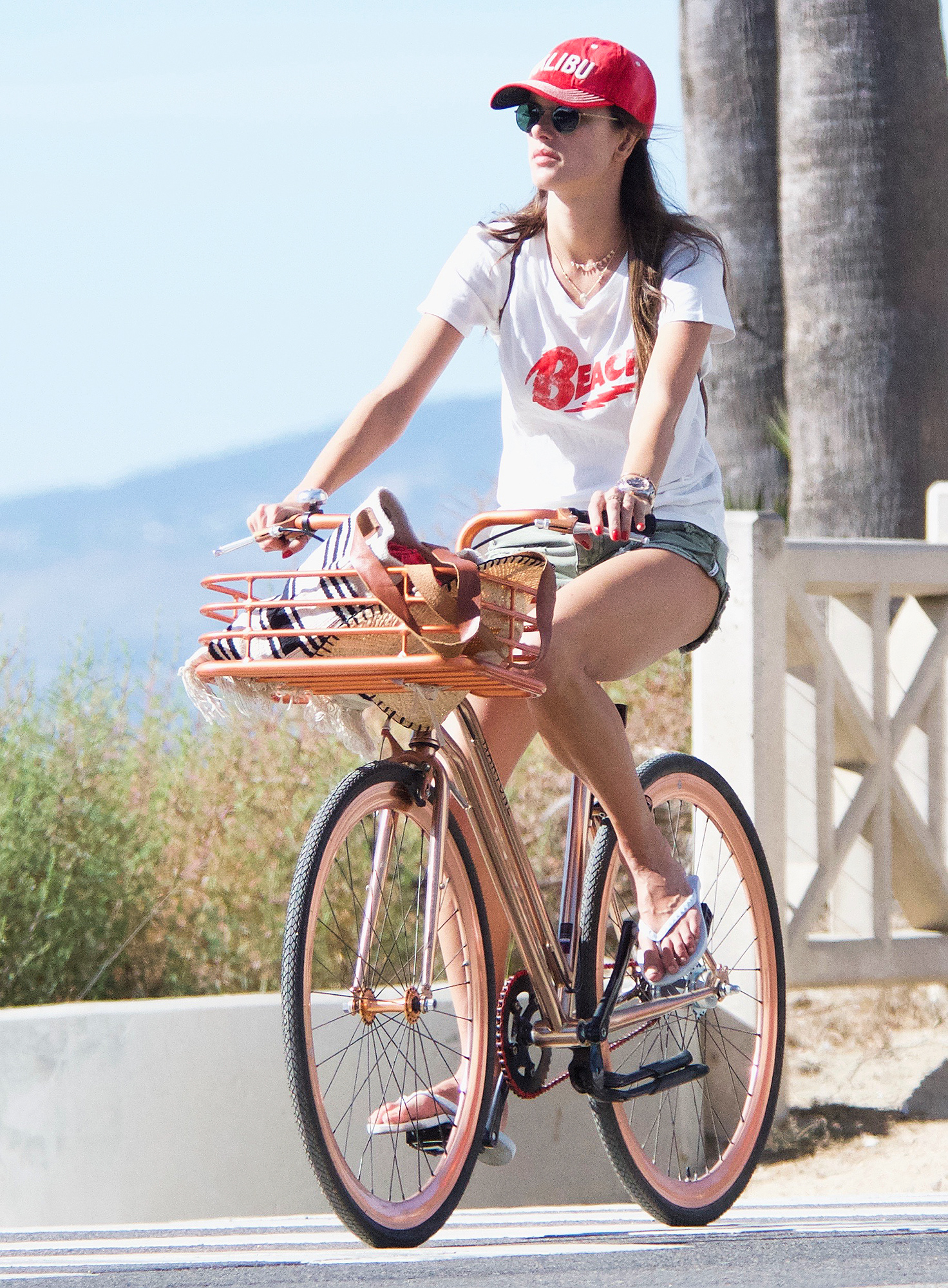 EXCLUSIVE: Alessandra Ambrosio riding bicycle to Venice Beach with her kids and friend