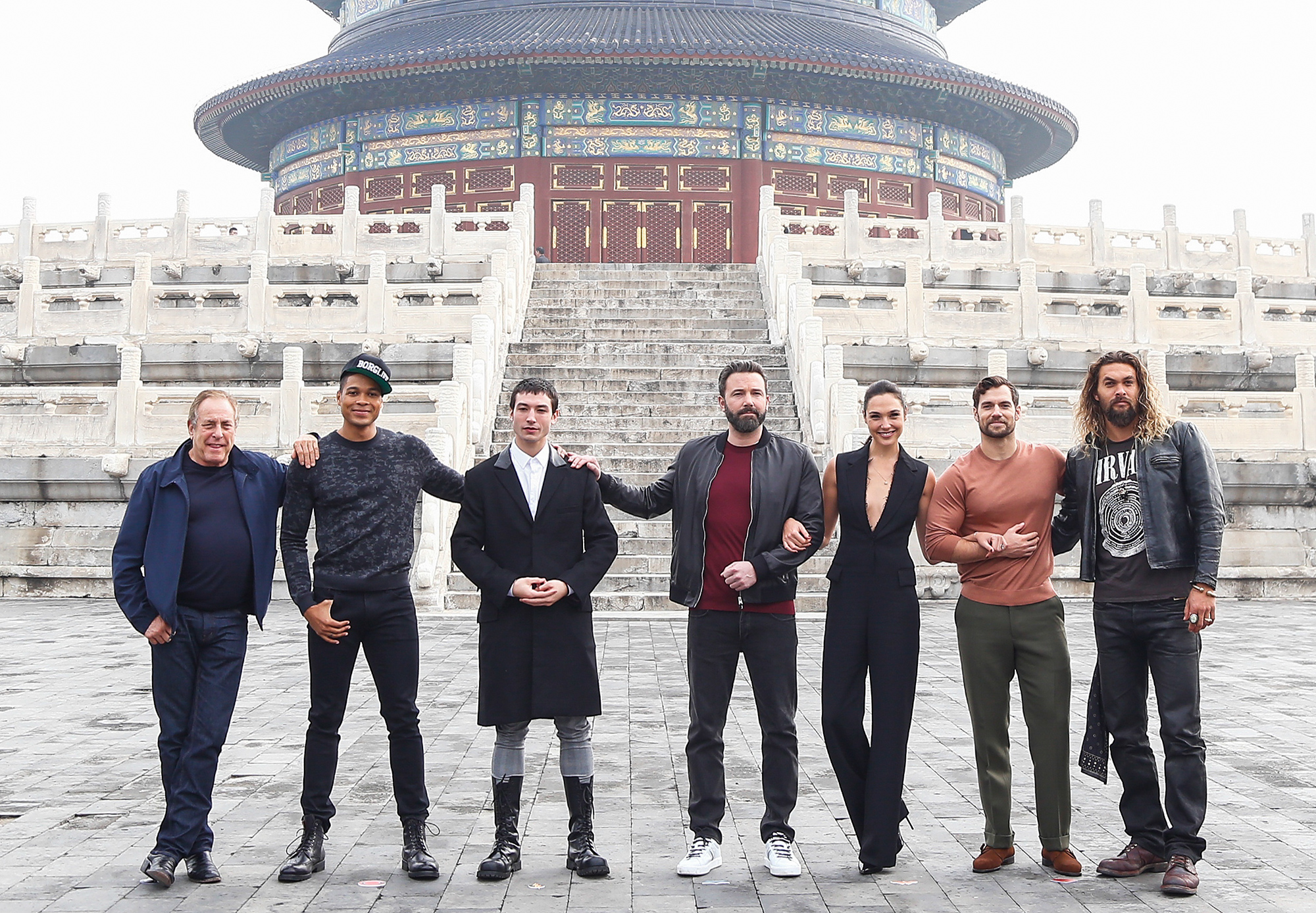 """Stars Of """"Justice League"""" Visit Temple Of Heaven In Beijing"""