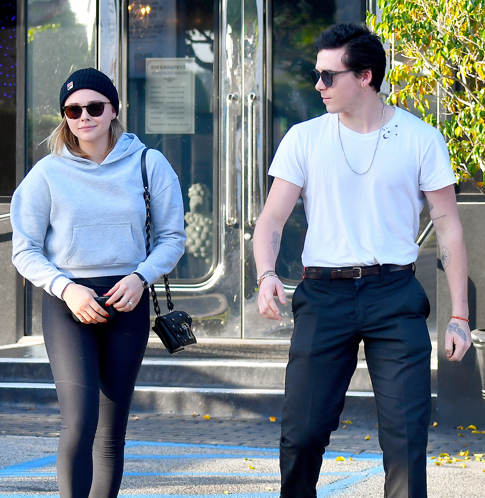 Brooklyn Beckham and his girlfriend Chloe Moretz are seen leaving a Jewelry store in Beverly Hills