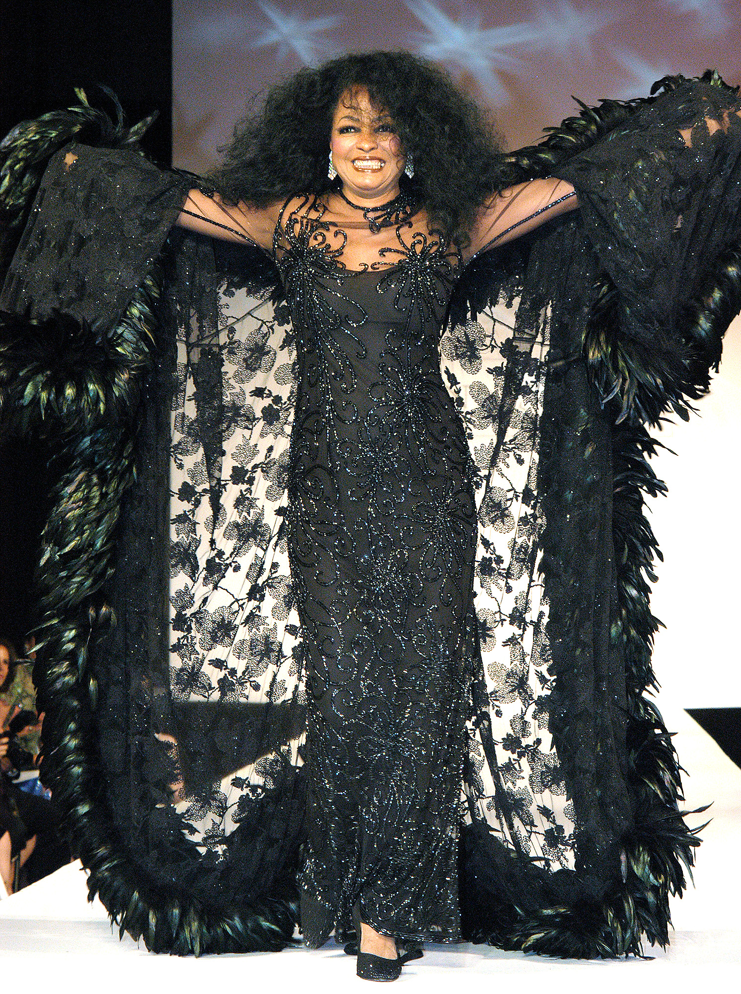 Diana Ross takes to the runway as she headlines Dennis Basso