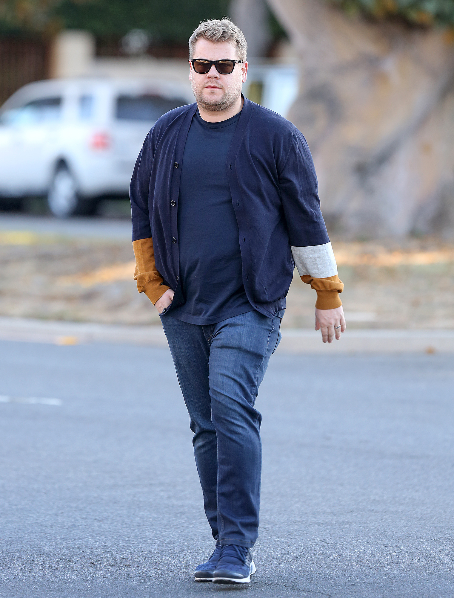 James Corden quietly walks back to car after Weinstein scandal in LA.