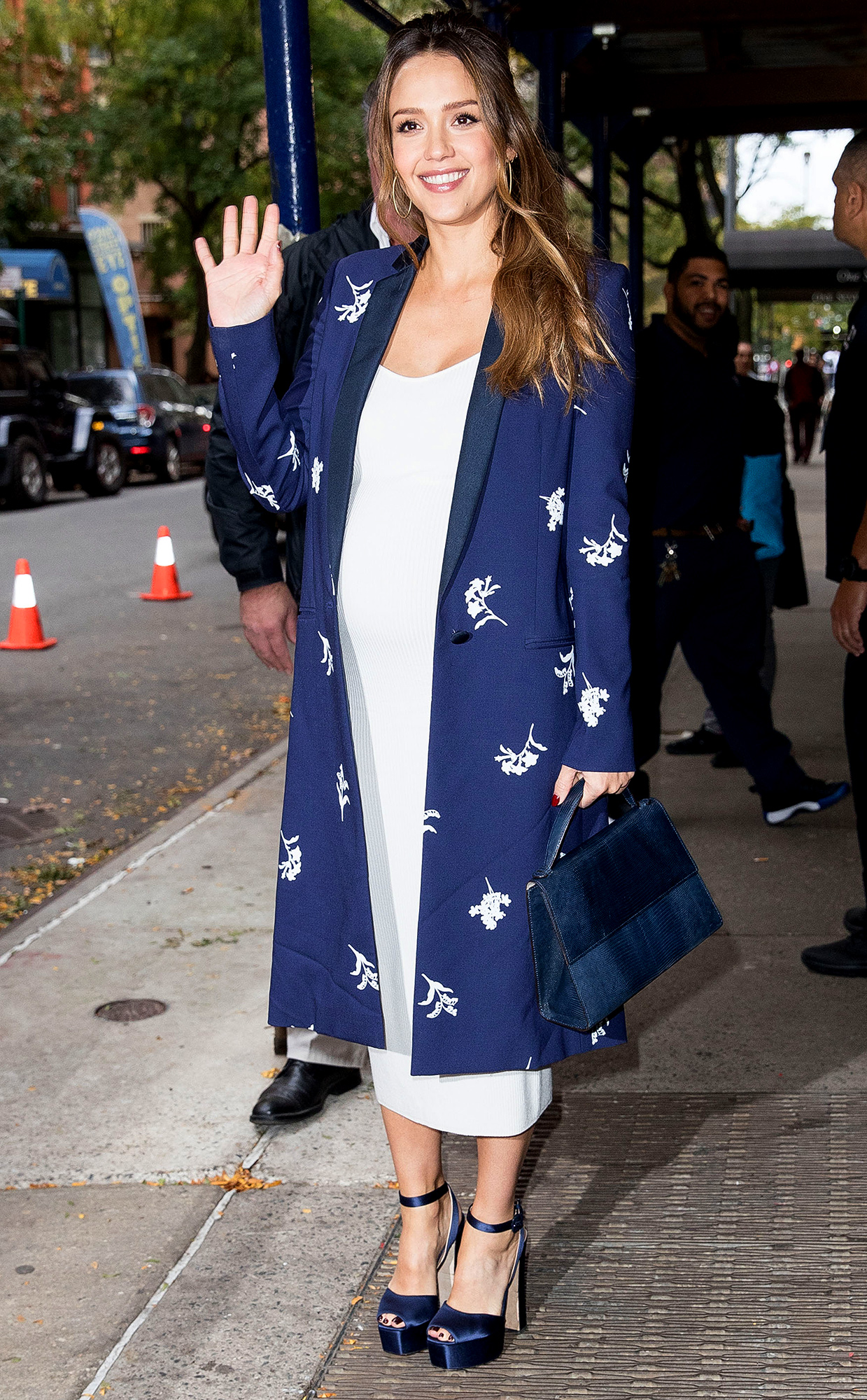 Pregnant Jessica Alba looks fabulous in white while out and about in New York
