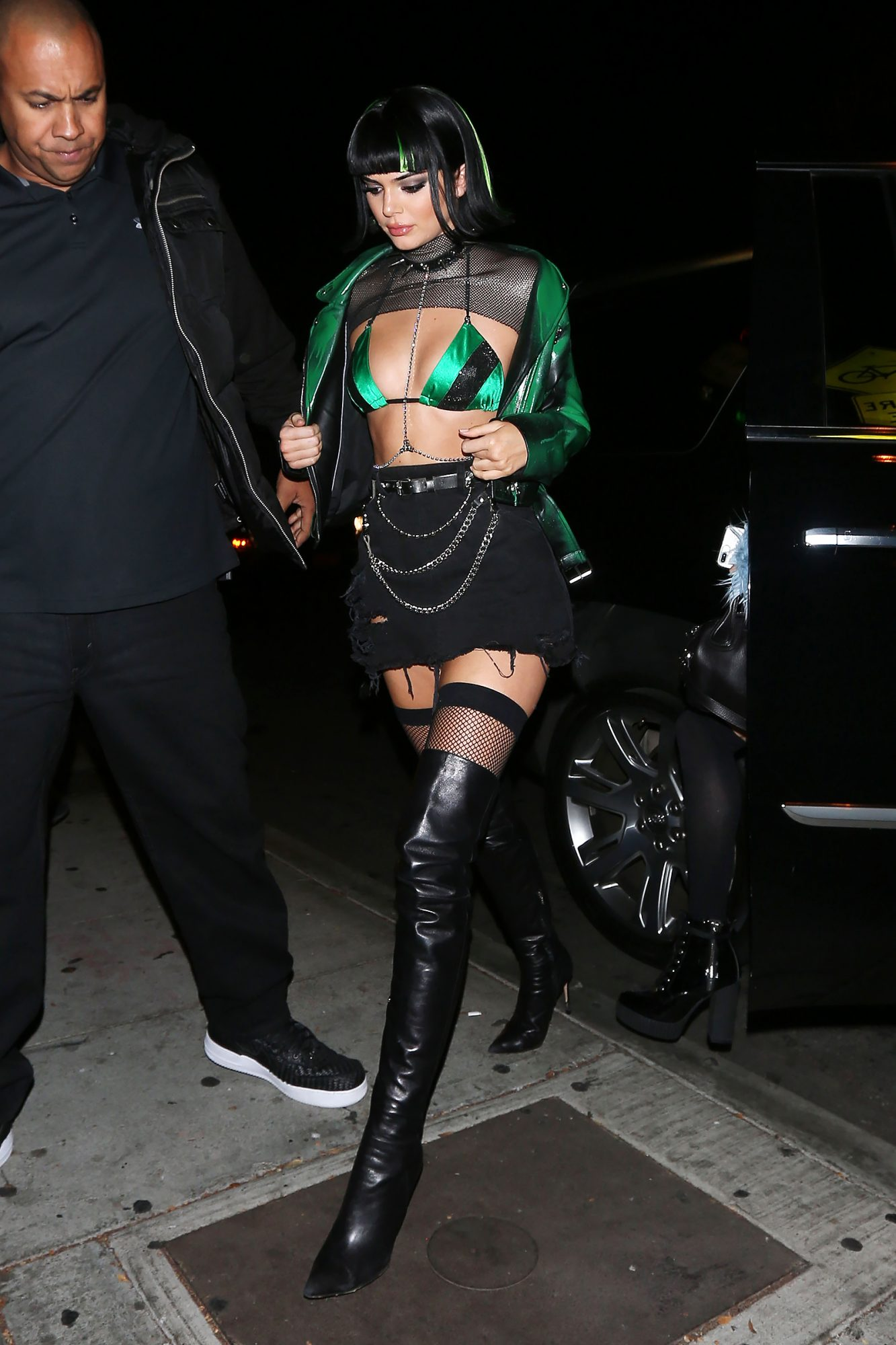 Kendall Jenner wears a scantily clad costume as she goes to the Delilah club to celebrate her 22nd birthday and Halloween as well