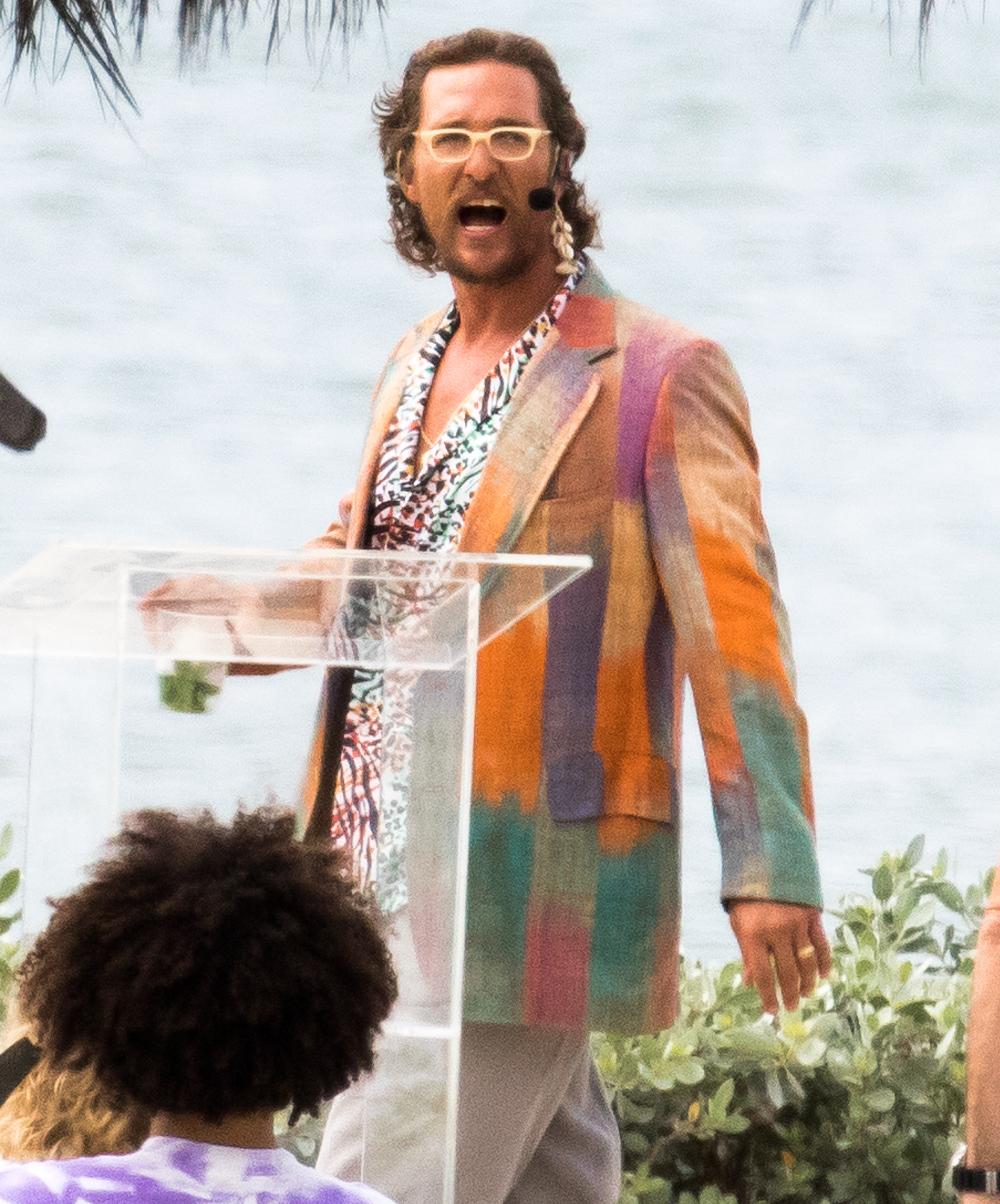 EXCLUSIVE: Matthew McConaughey with scruffy beard and bad teeth filming a scene for his new movie The Beach Bum, Miami.