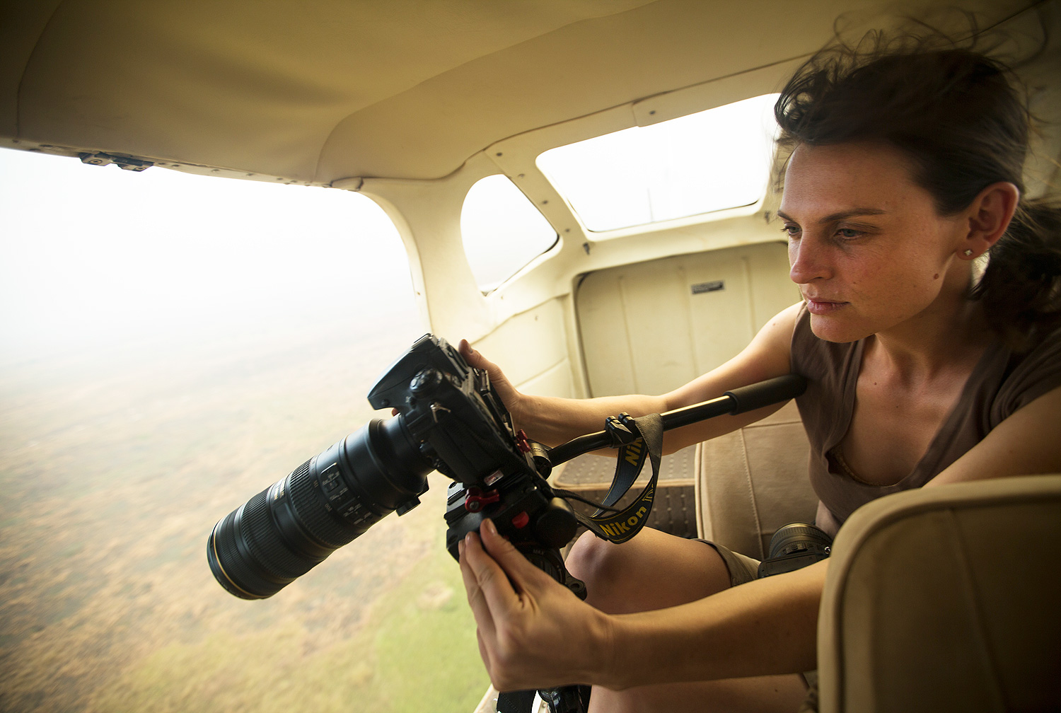 Director of The Last Animals, Kate Brooks, filming over Garamba National Park.