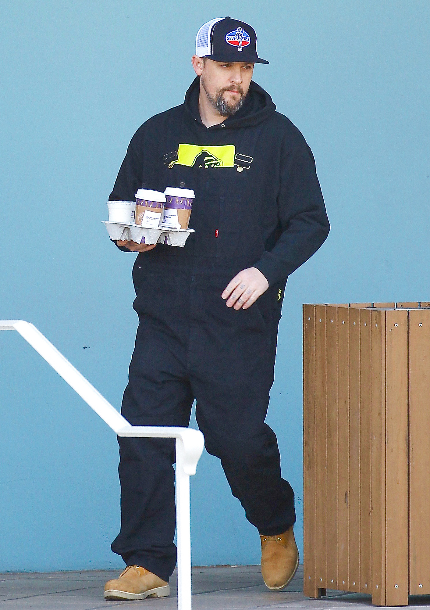 Benji Madden and brother Joel out for a coffee run