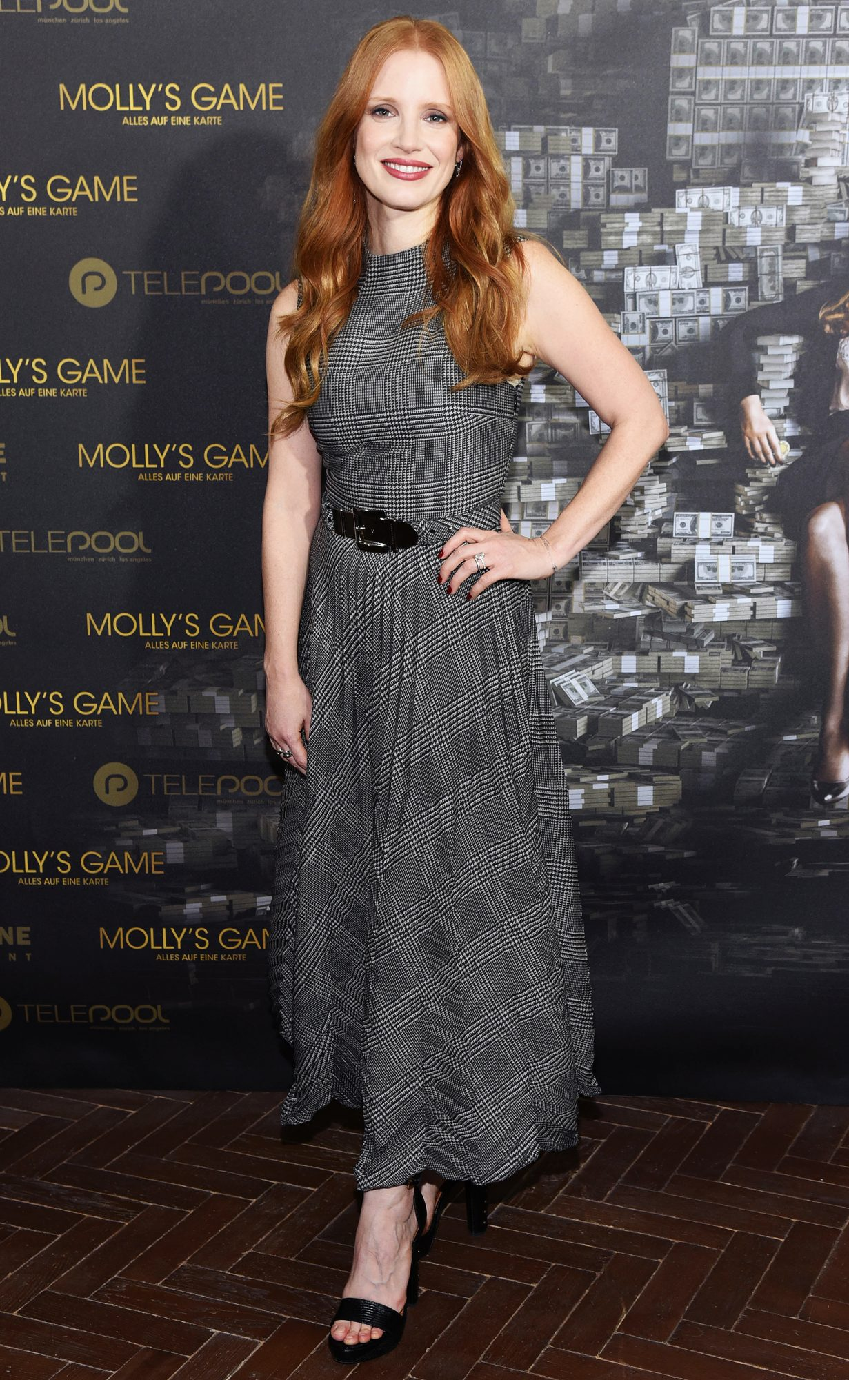 Aaron Sorkin and Jessica Chastain at the Mollys Game Photocall