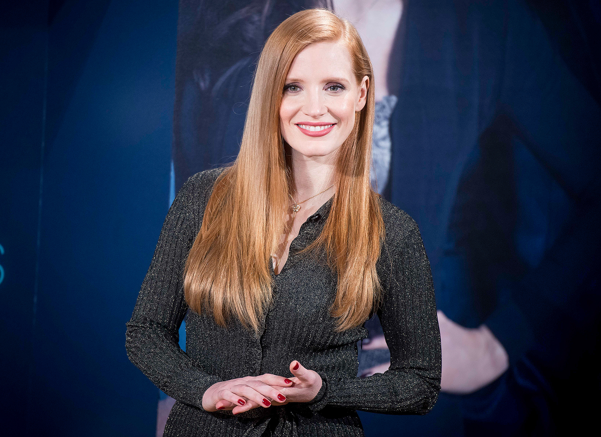 Jessica Chastain present Molly's Game in Madrid.