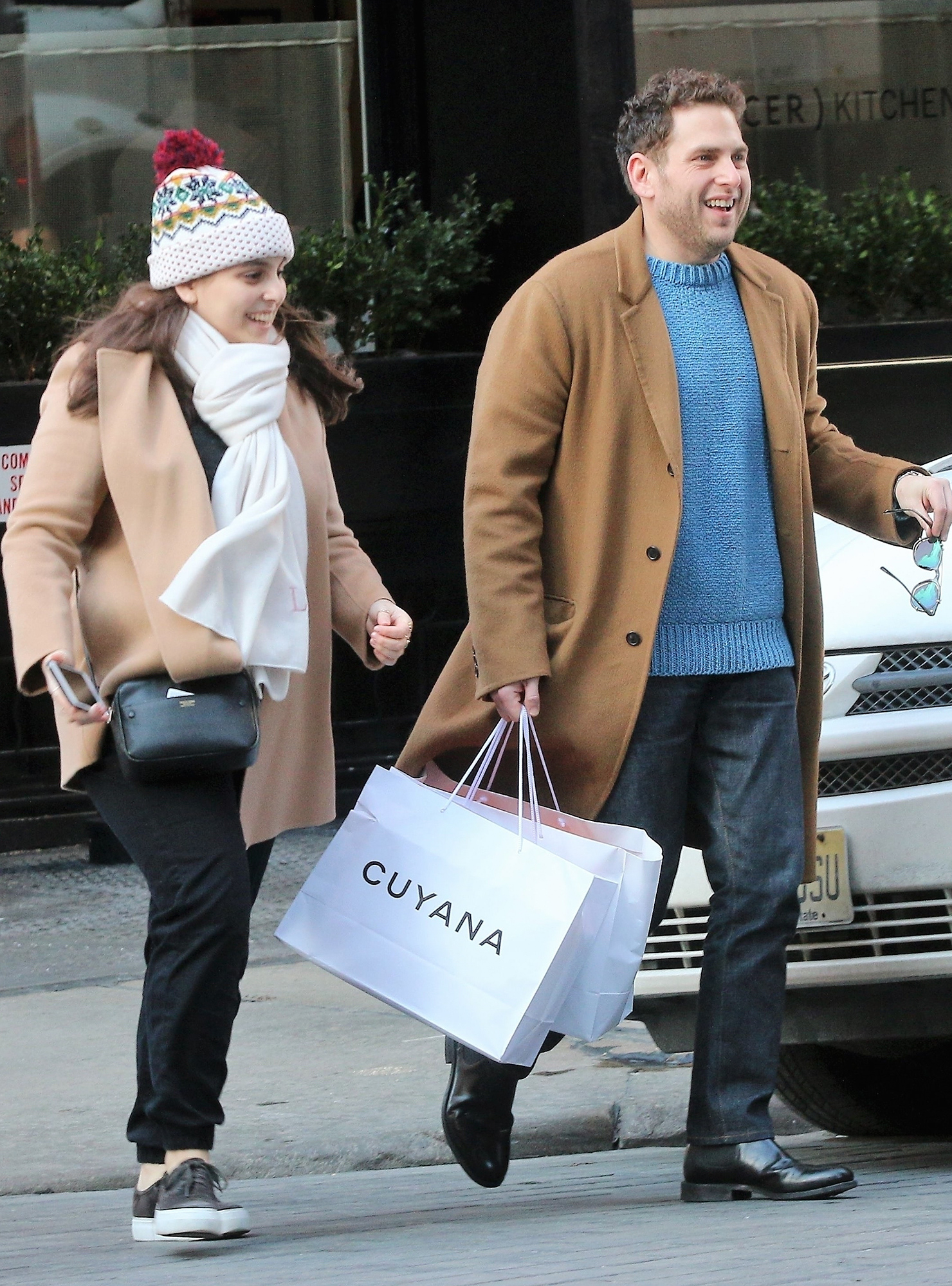 *EXCLUSIVE* Jonah Hill enjoys the day out Christmas shopping with his sister Beanie Feldstein