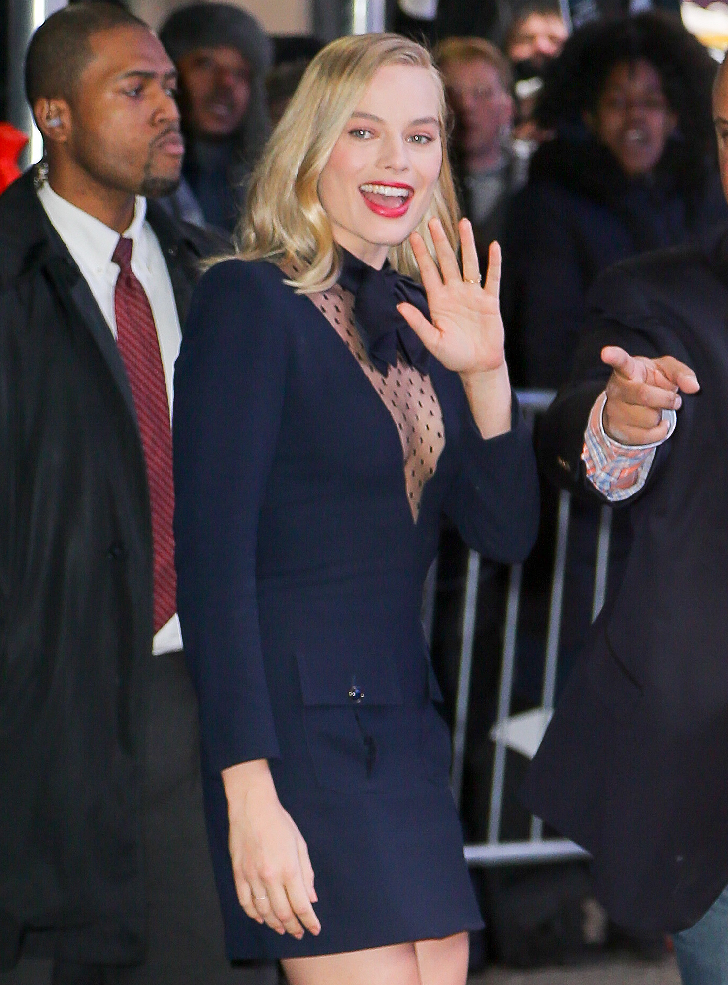 Margot Robbie is all smiling as leaving Good Morning America in New York City