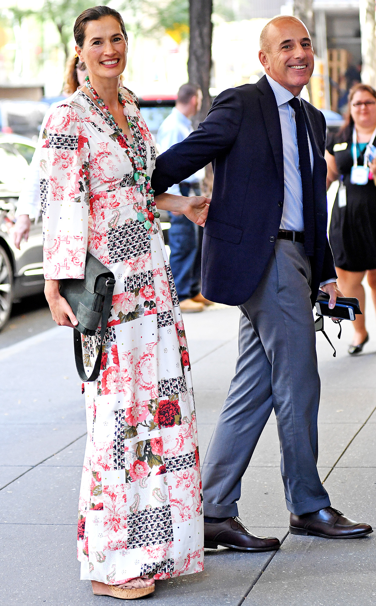 EXCLUSIVE: Matt Lauer and his Wife all smiles while heading out for lunch