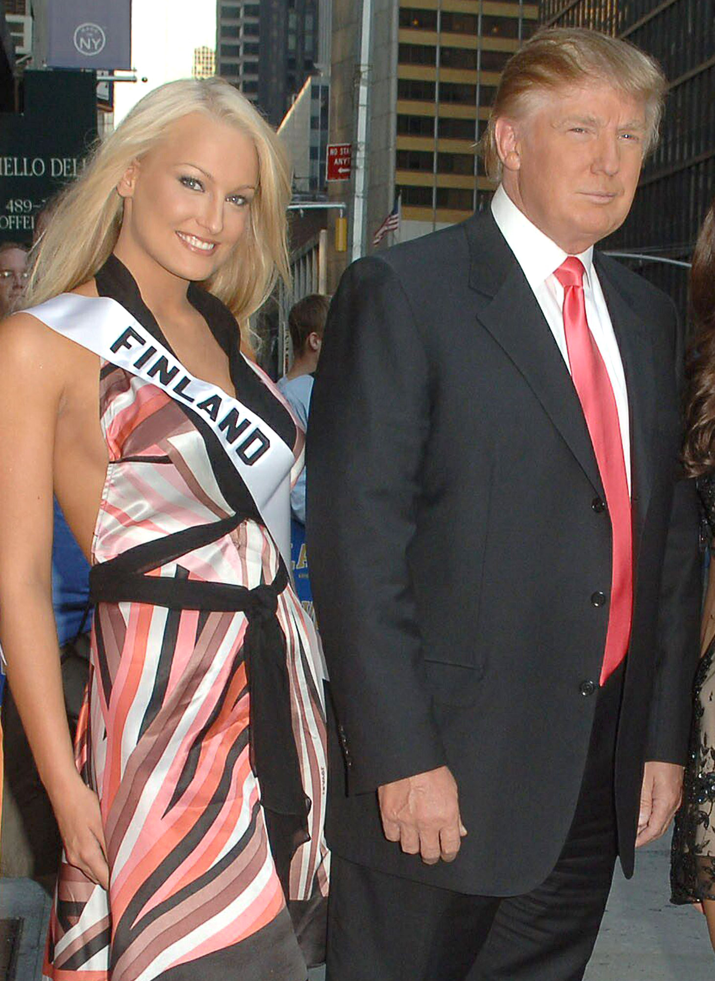 Donald Trump with Miss Universe contestants at The Late Show with David Letterman, NY
