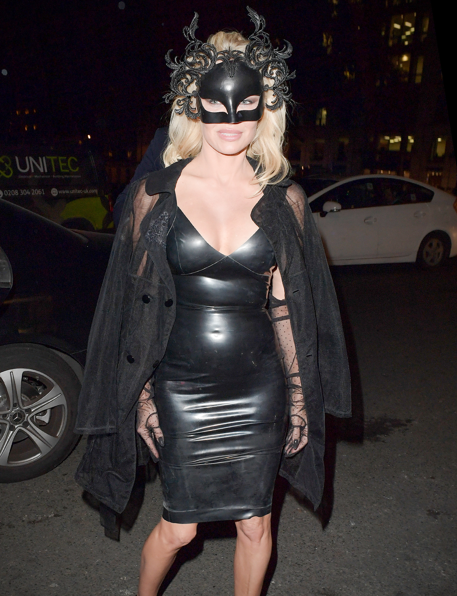 Pamela Anderson is Pictured in a Tight Black PVC Dress as she Arrives at Morton Club in London.