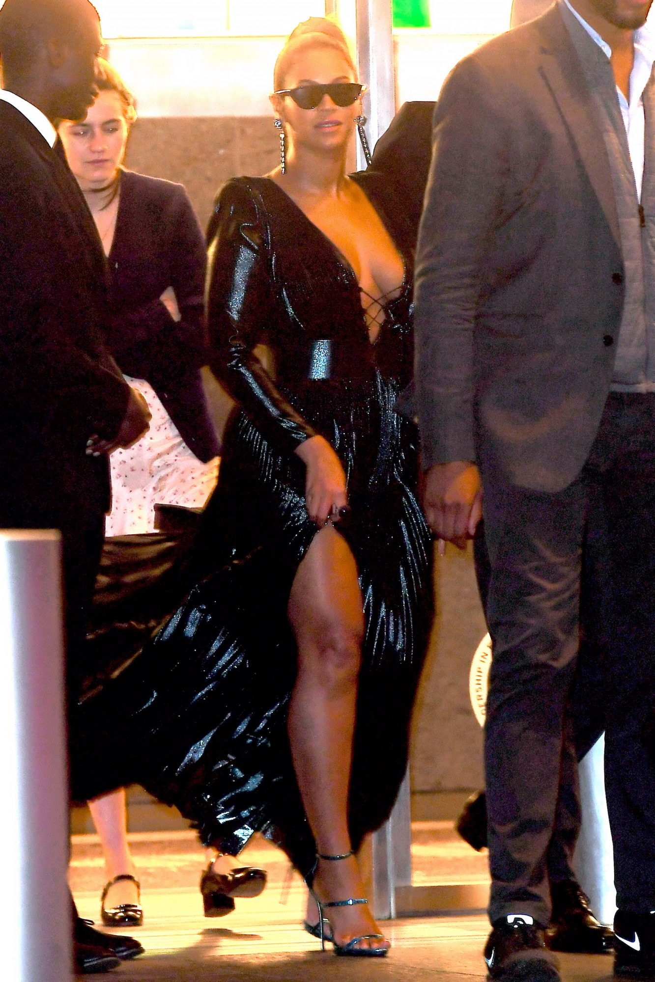 Beyonce Shows off her Stunning Legs in High Slit Dress as she Leaves Roc Nation Grammy Brunch at Freedom Tower