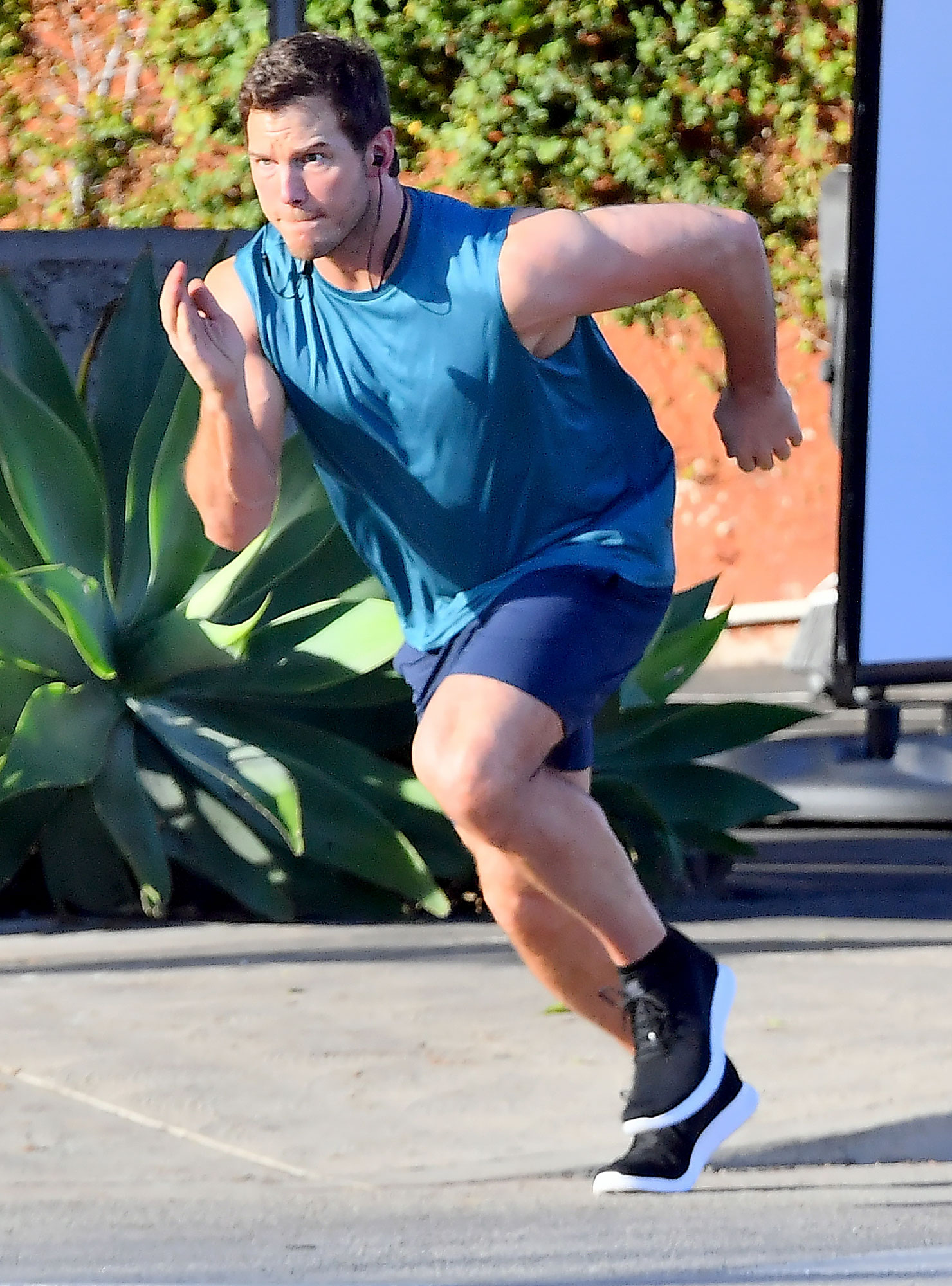 EXCLUSIVE: Chris Pratt is seen racing  a horse as he films a scene for an unknown project in Los Angeles