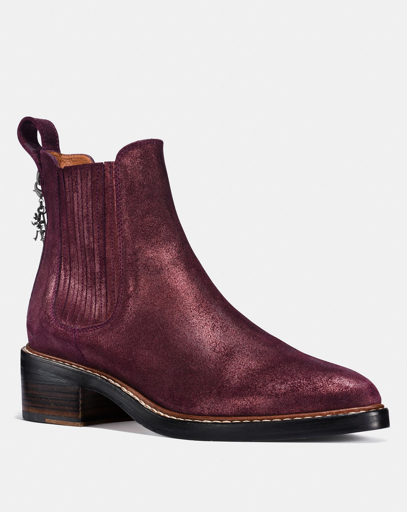 coach burgundy booties