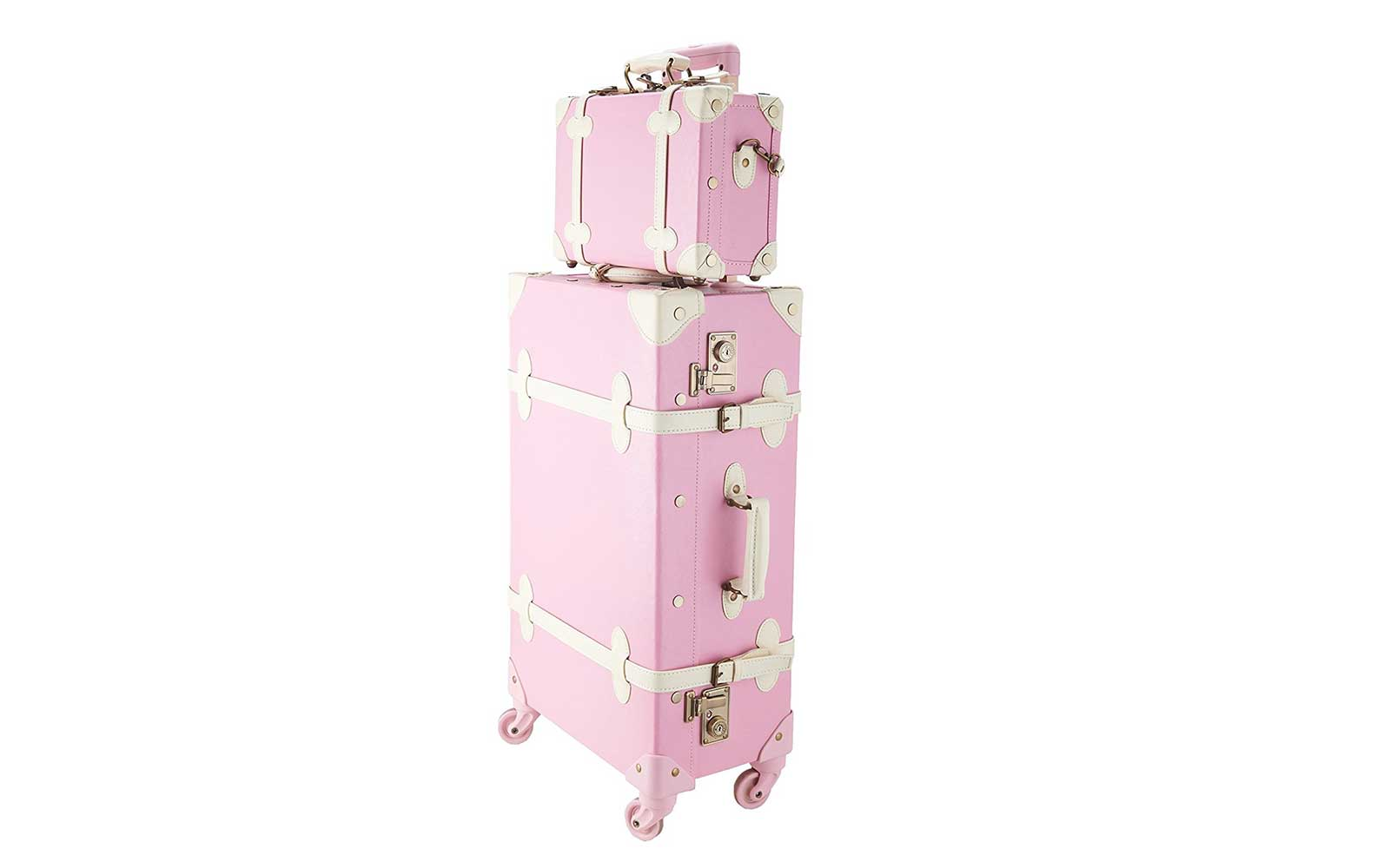Pink and white vintage-look luggage set