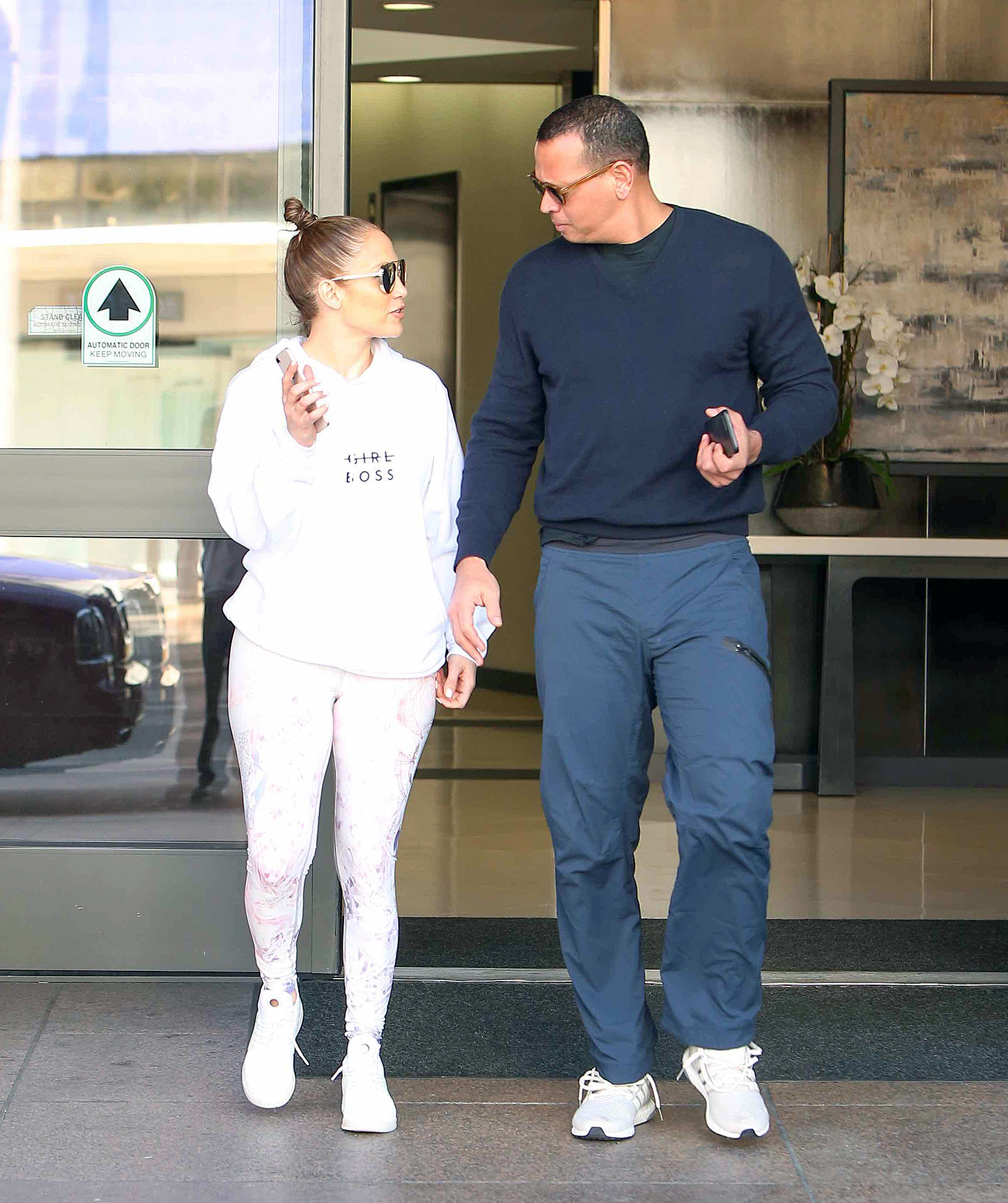 Happy Couple Jennifer Lopez And Alex Rodriguez make a quick stop at a medical building before making their way to the GYM in Los Angeles.