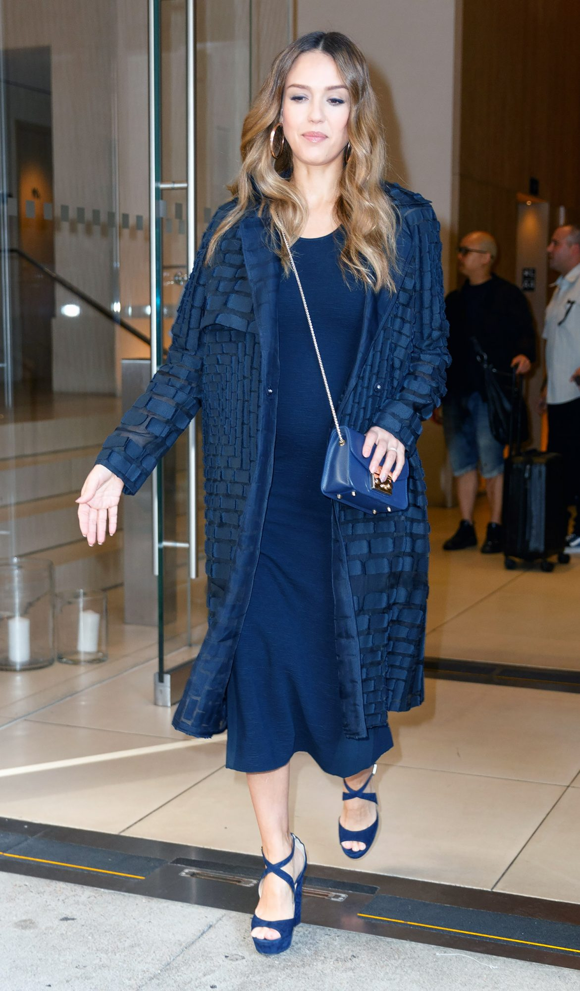 Jessica Alba out and about in New York looking very pregnant