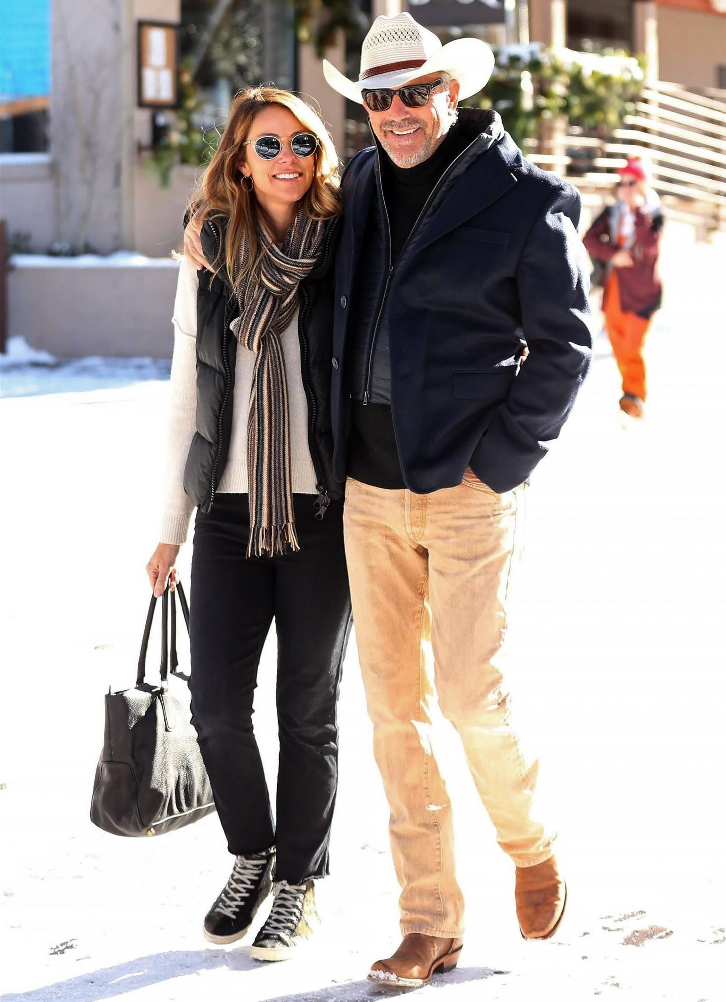 *EXCLUSIVE* Kevin Costner and wife Christine shop til they drop in Aspen