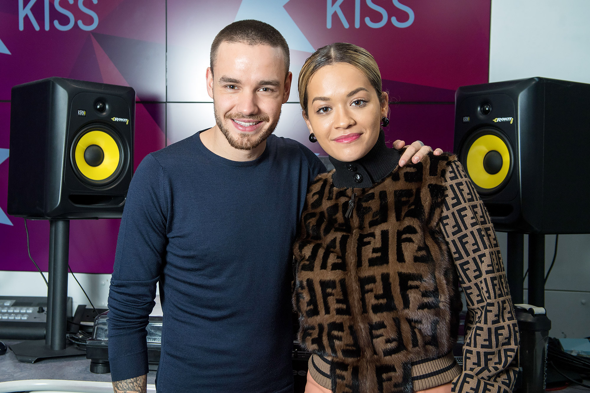 Liam Payne And Rita Ora Visits KISS FM