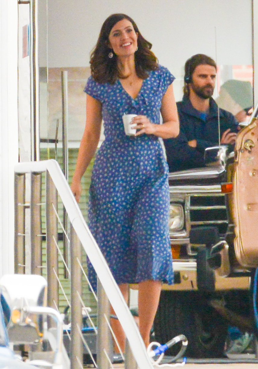 Mandy Moore Filming At A Car Dealer In Los Angeles.