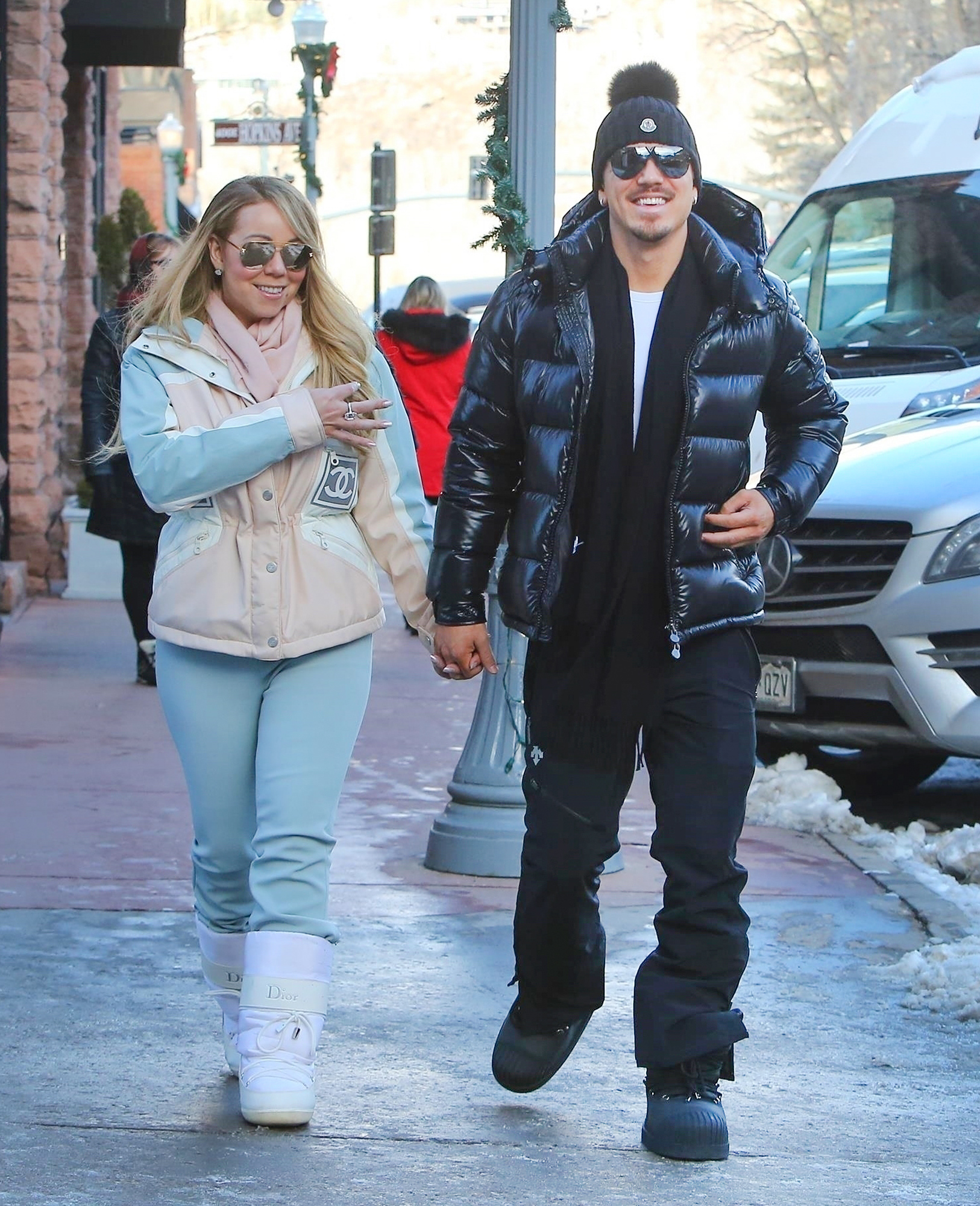 *EXCLUSIVE* Mariah Carey and Bryan Tanaka go for a Winter stroll in Aspen