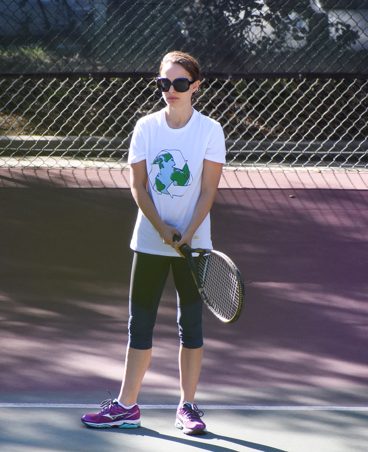 Natalie Portman continues to improve on her form as she is seen while on Tennis practice in Los Angeles.
