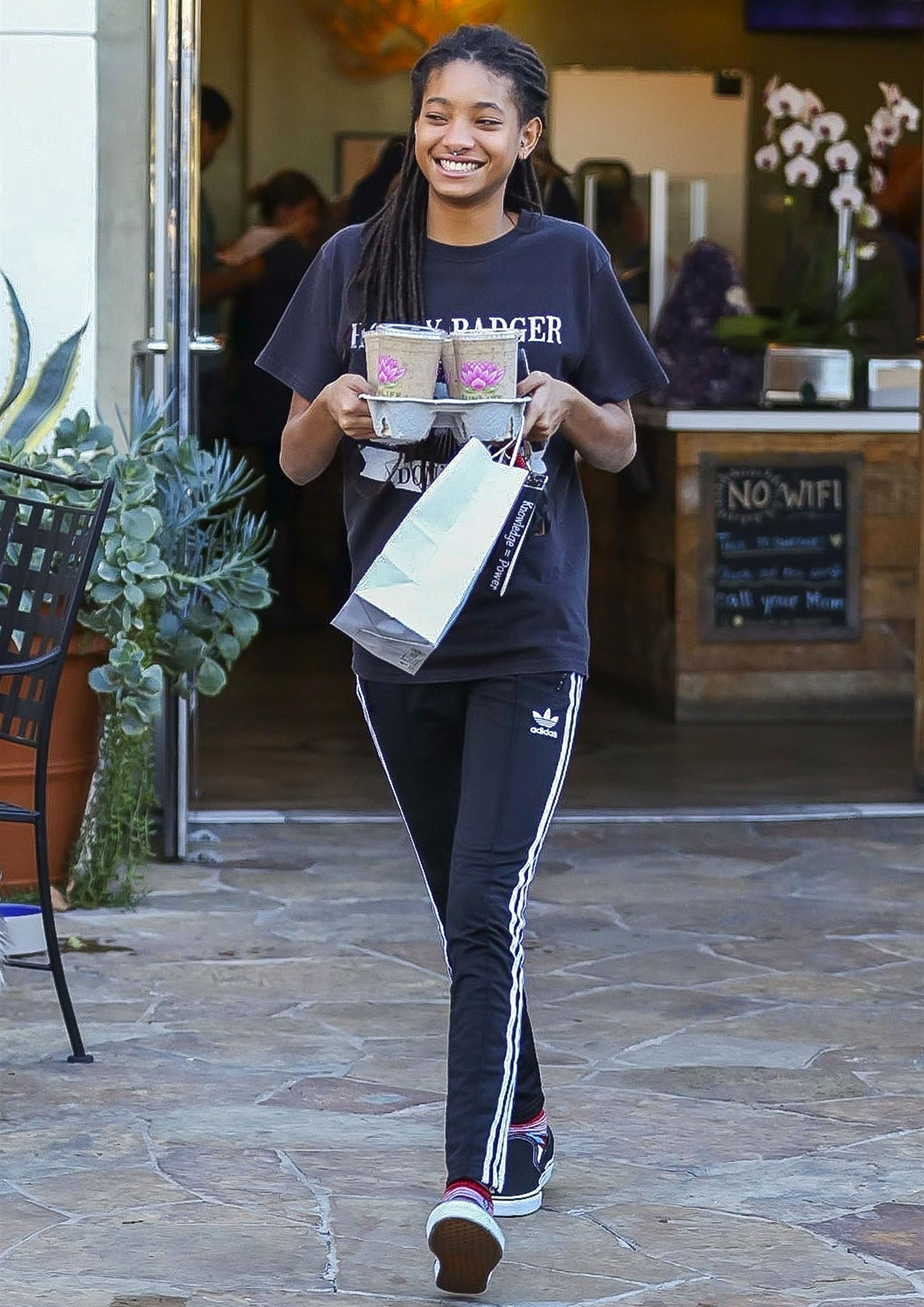 *EXCLUSIVE* Willow Smith smiles wide at Sun Life Organics