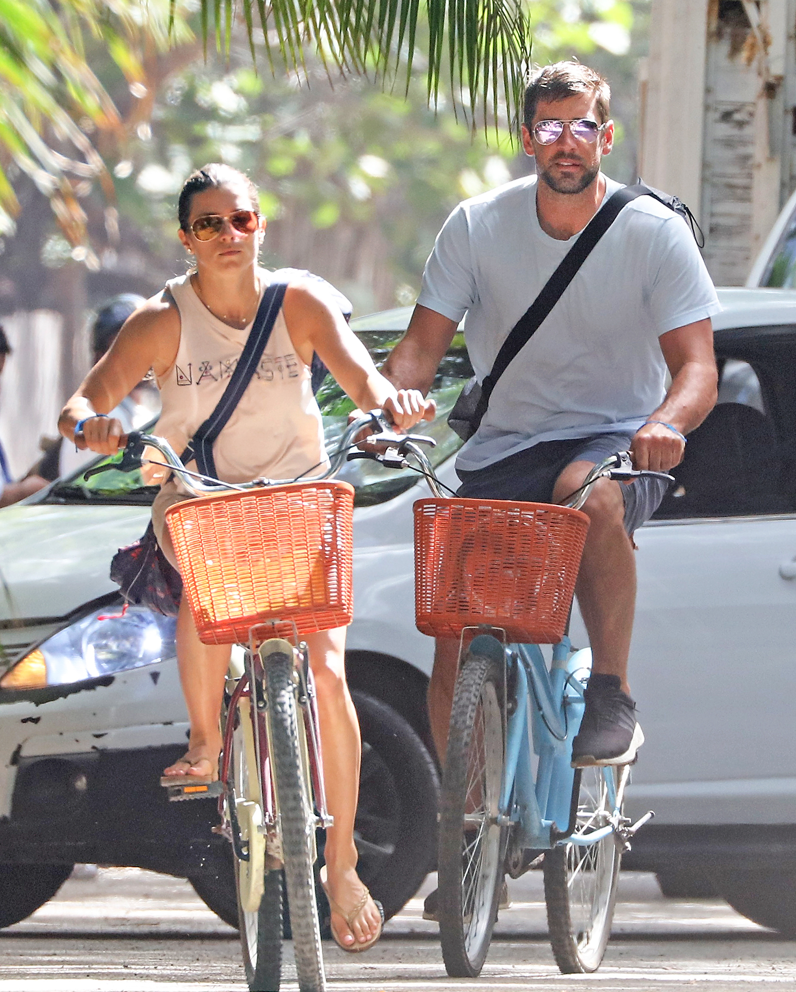EXCLUSIVE: **NO WEB UNTIL 8.30AM PST ON TUESDAY FEBRUARY 27, 2018** Danica Patrick and Aaron Rodgers ride bikes during their romantic Mexican getaway