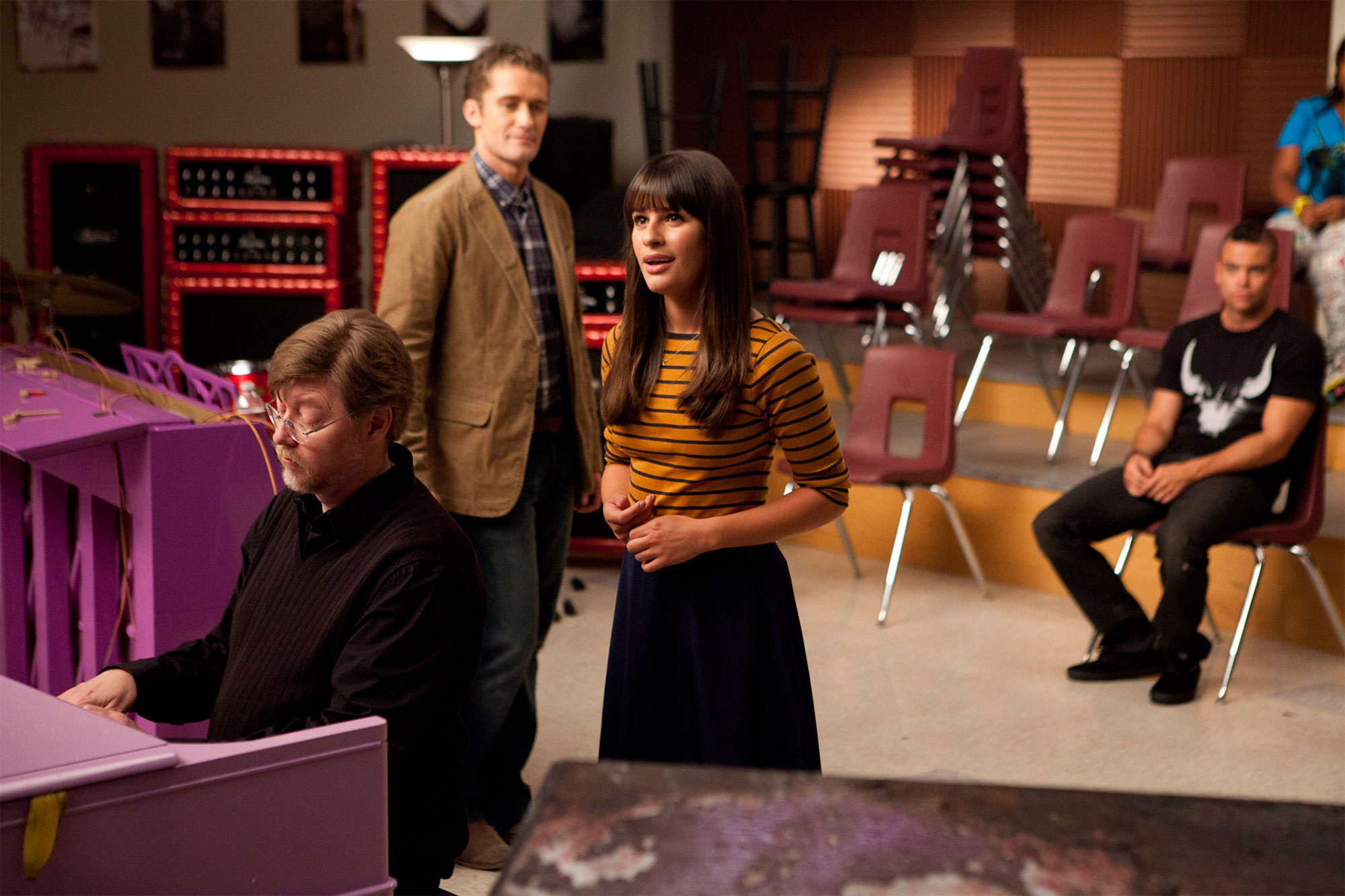 GLEE, Matthew Morrison (2nd from left), Lea Michele (3rd from left), 'The Purple Piano Project', (Se