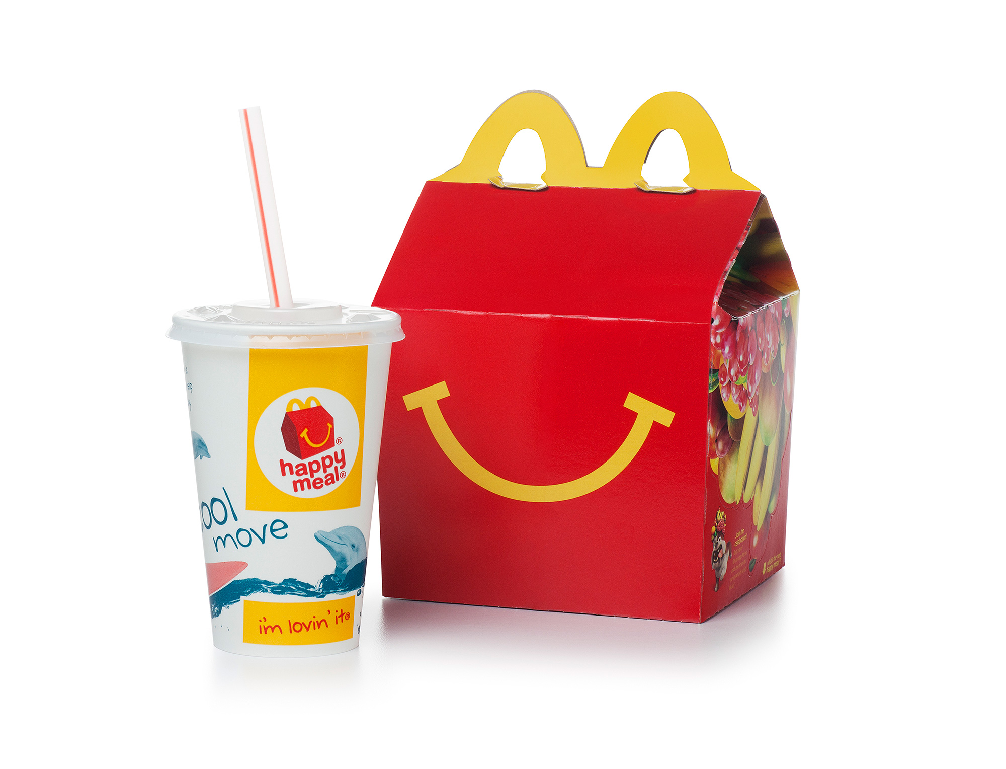 McDonalds Happy Meal on White