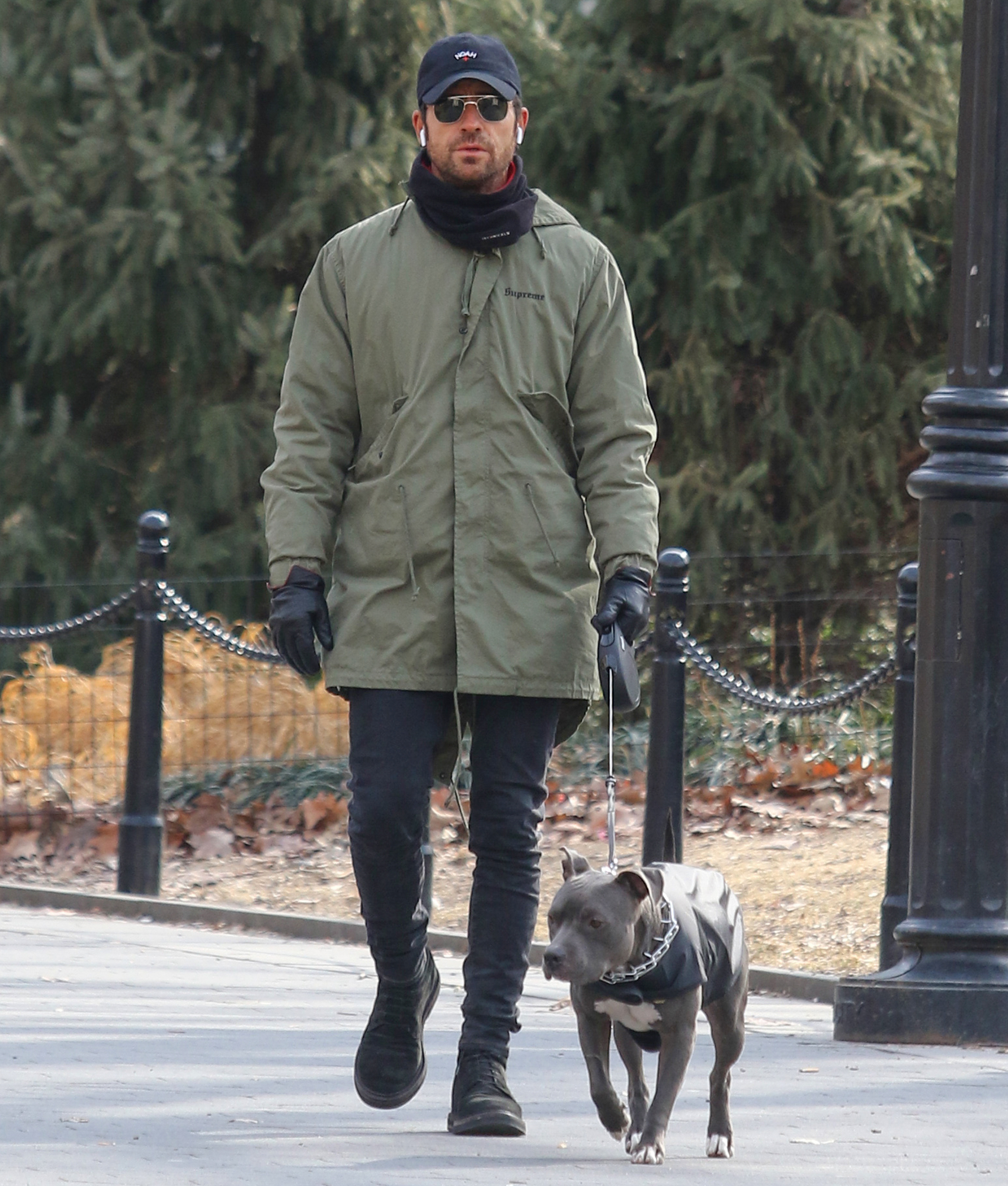 Justin Theroux walks his dog in NYC