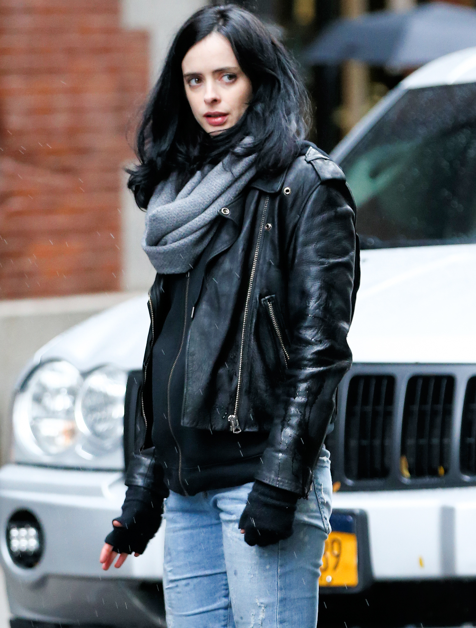 Australian actress Rachael Taylor and Krysten Ritter film 'The Defenders' on Crosy Street in Soho in New York City