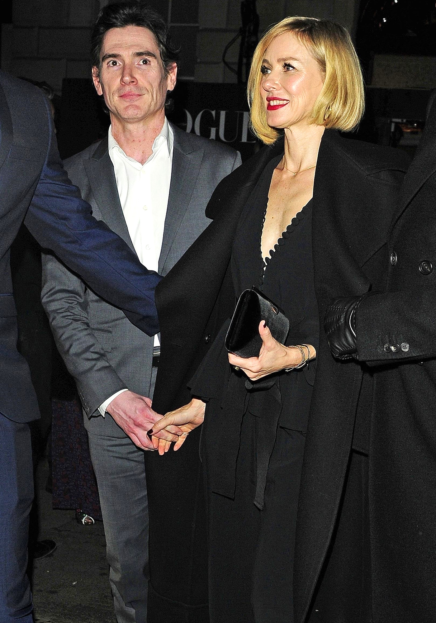 Naomi Watts and Billy Crudup leaving the Vogue X BAFTA afterparty held at Annabel's