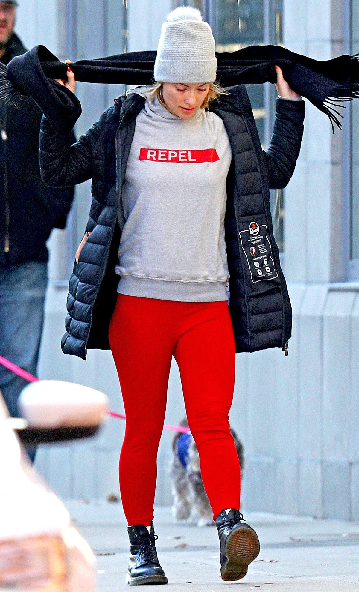 EXCLUSIVE: Olivia Wilde steps out wearing Red leggings and Dr. Martens boots