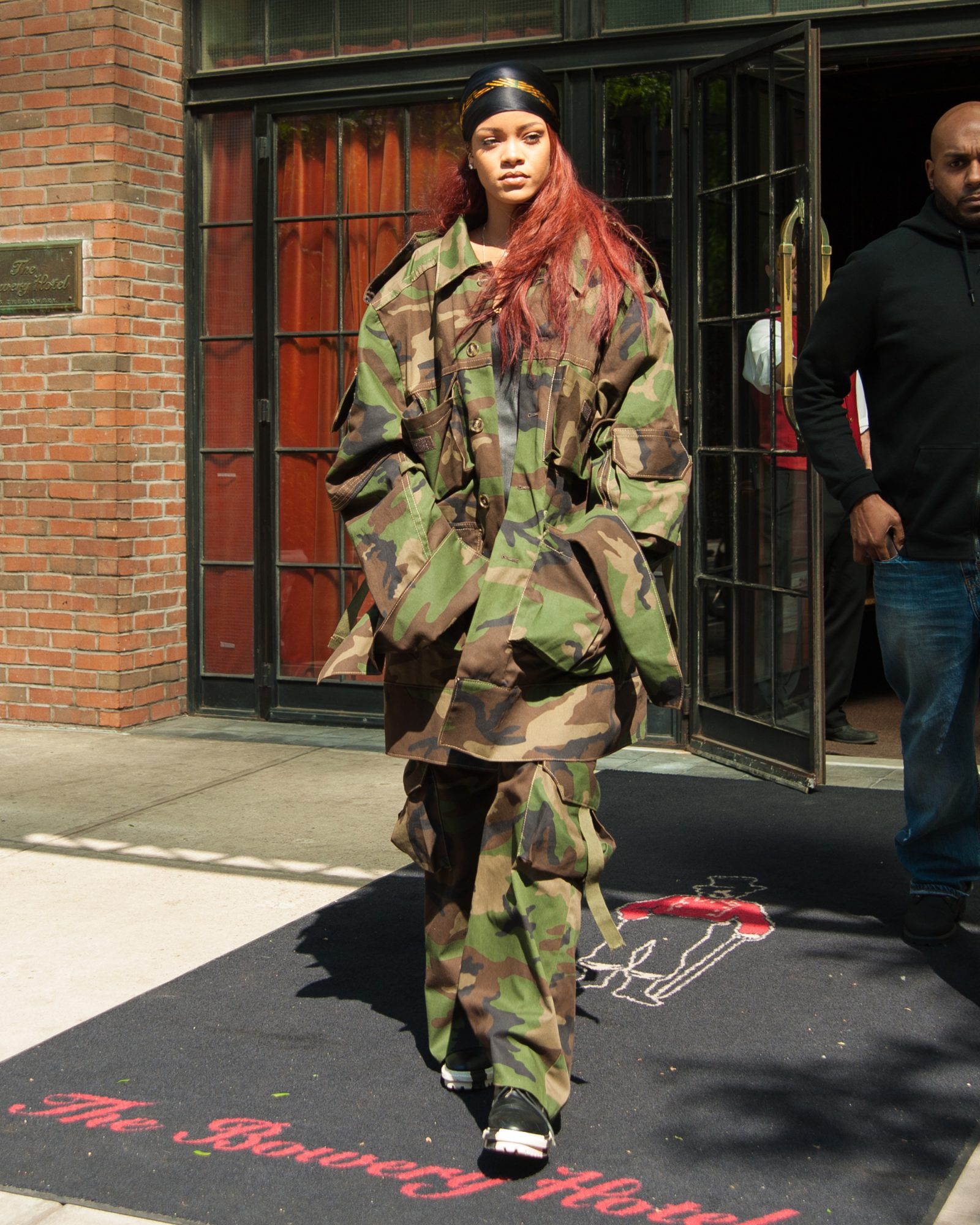Rihanna leaving the Bowery Hotel wearing an all-camouflage outfit in Soho, New York City