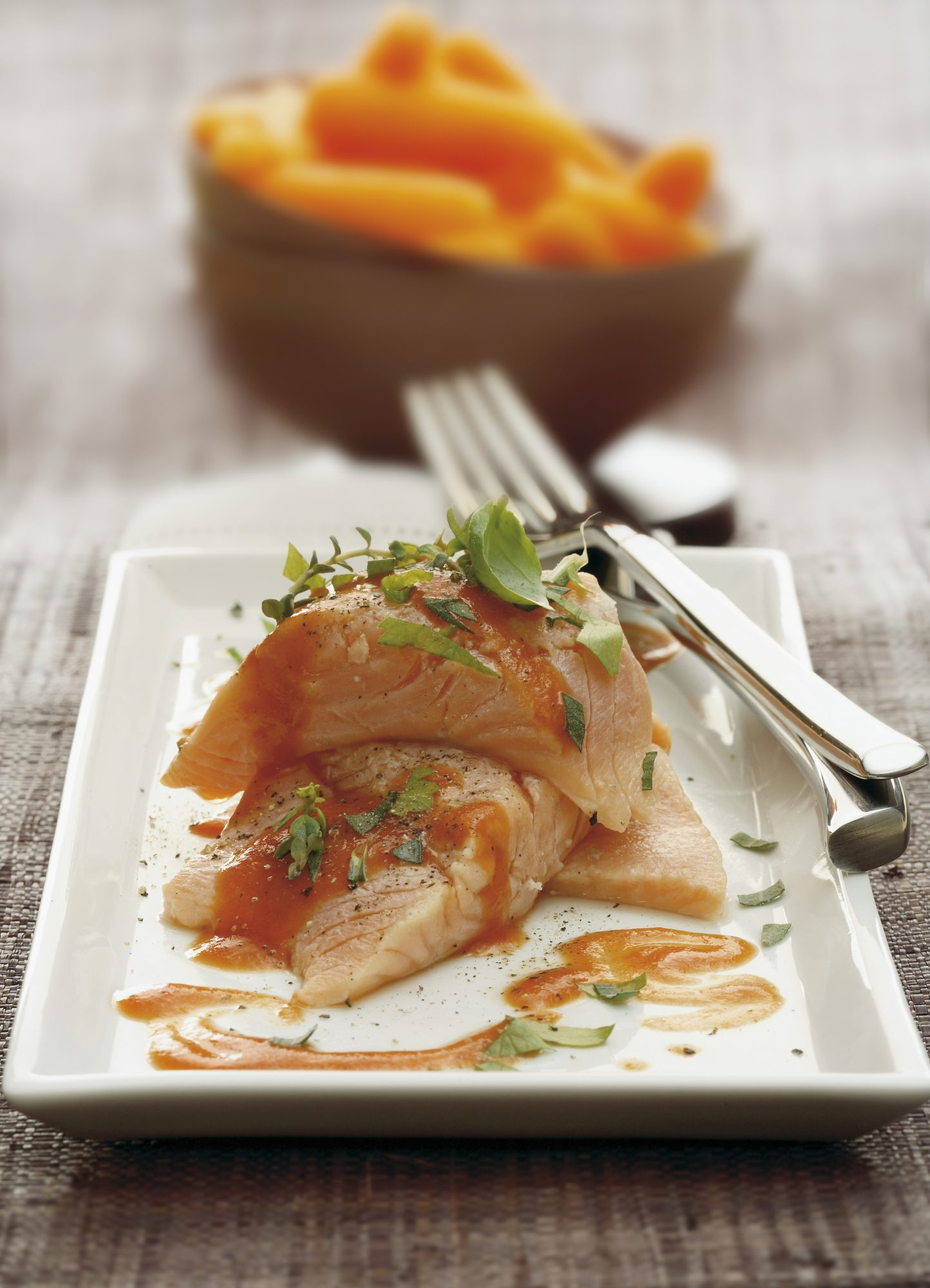 Fillets of aromatic salmon trout