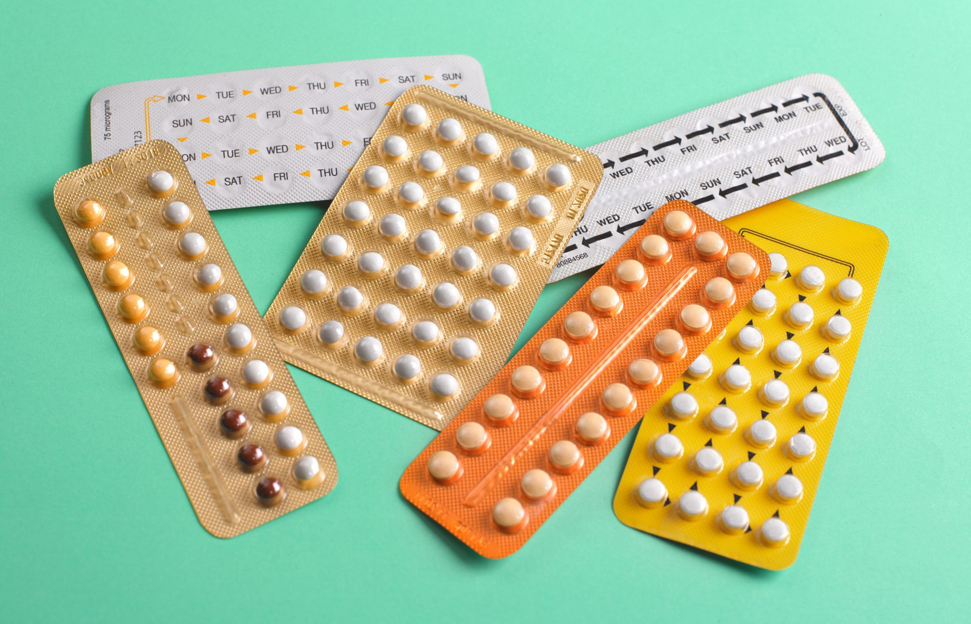 Close up of birth control pills